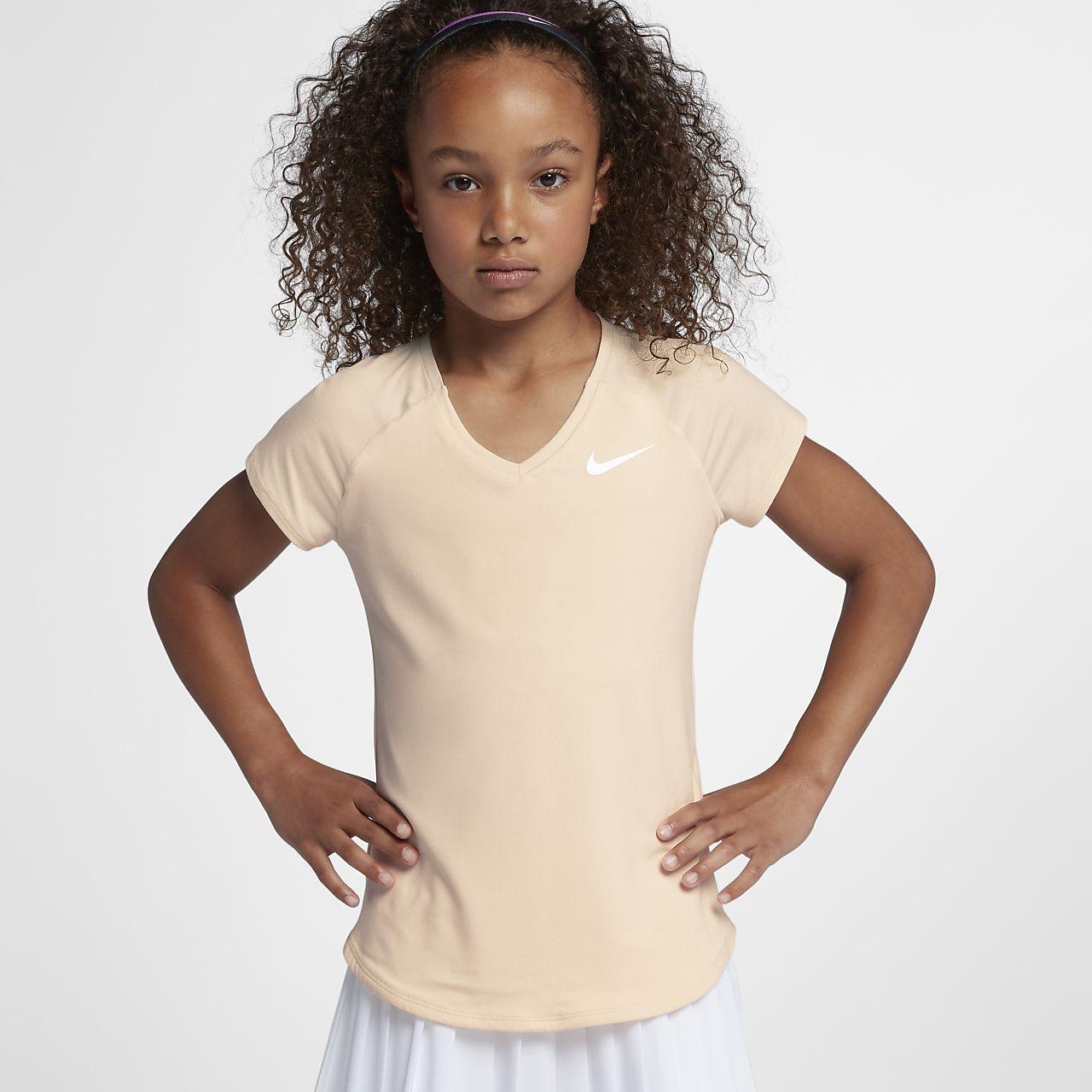 NikeCourt Pure Kurzarm-Tennisoberteil für ältere Kinder (Mädchen)