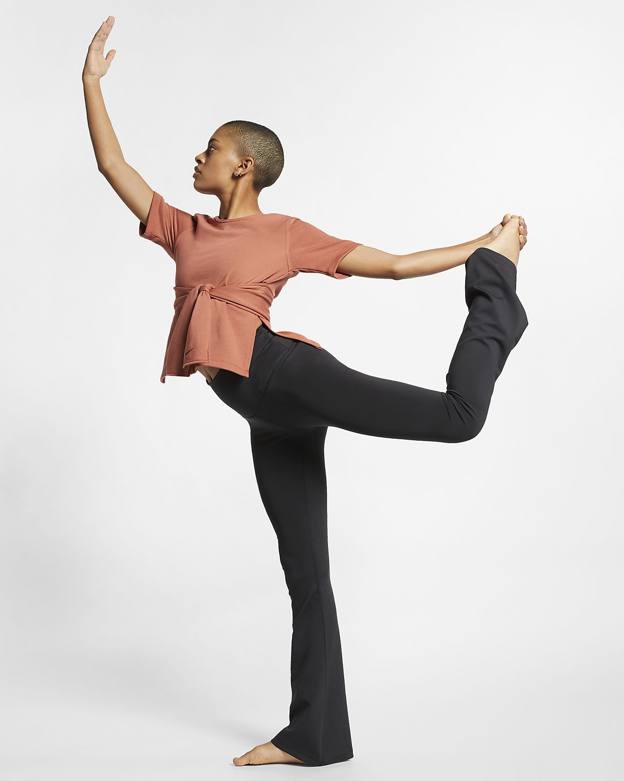 Nike Studio Kurzarm-Yoga-Trainingsoberteil für Damen