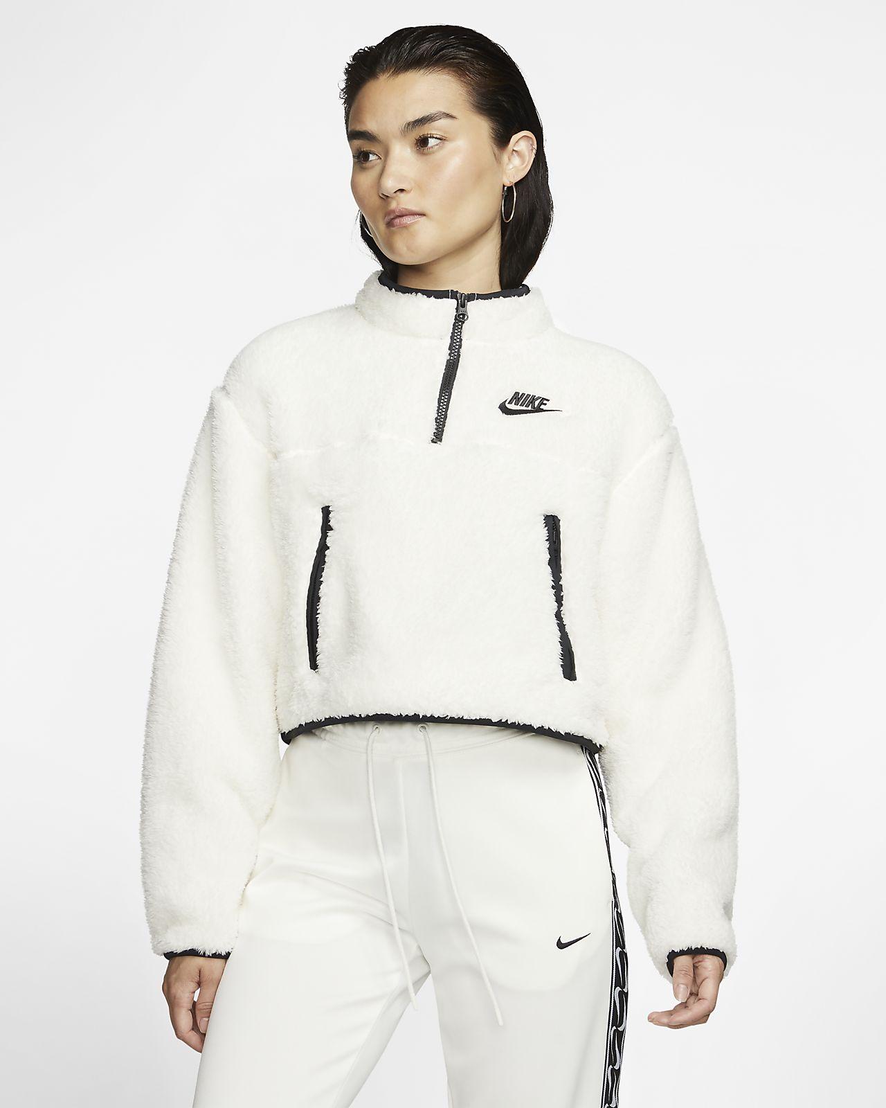 Женская укороченная футболка из флиса Sherpa с молнией 1/4 Nike Sportswear
