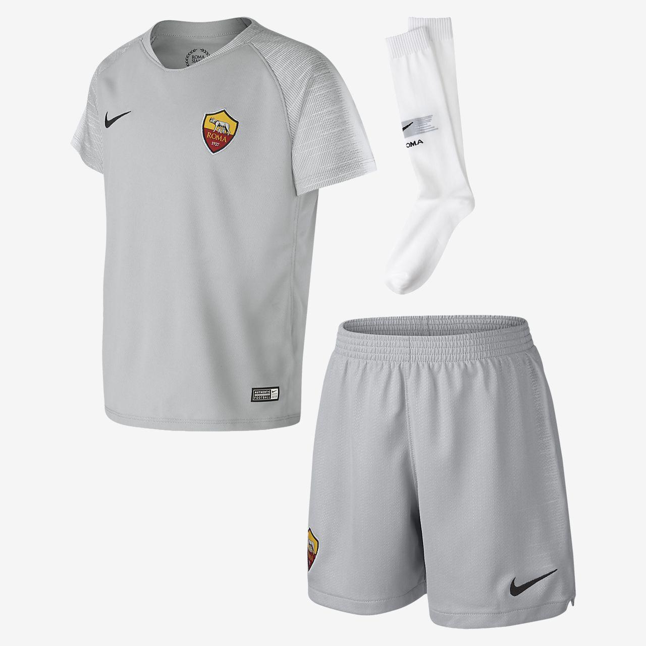Kit de fútbol de visitante para niños talla pequeña Stadium del A.S. Roma 2018/19