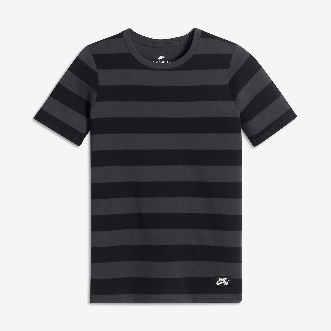 Nike SB Stripe Big Kids' T-Shirts Anthracite/Black