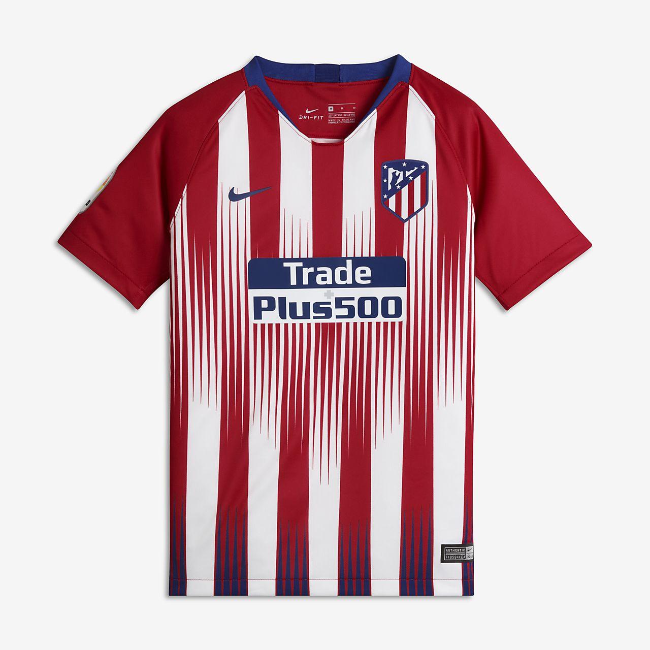 Camiseta de fútbol para niños talla grande de local Stadium del Atlético de  Madrid 2018  d23da43ae4988