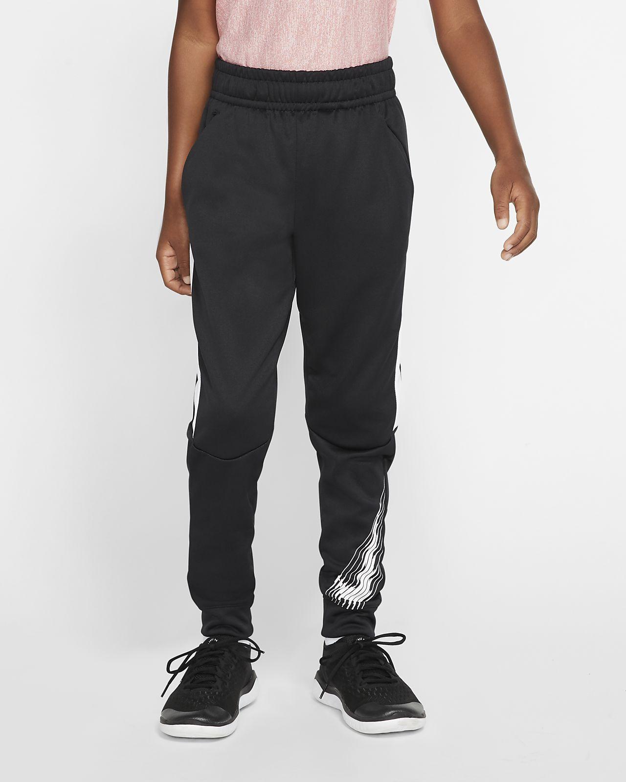 Figursyede Nike Therma-grafiske træningsbukser til store børn (drenge)