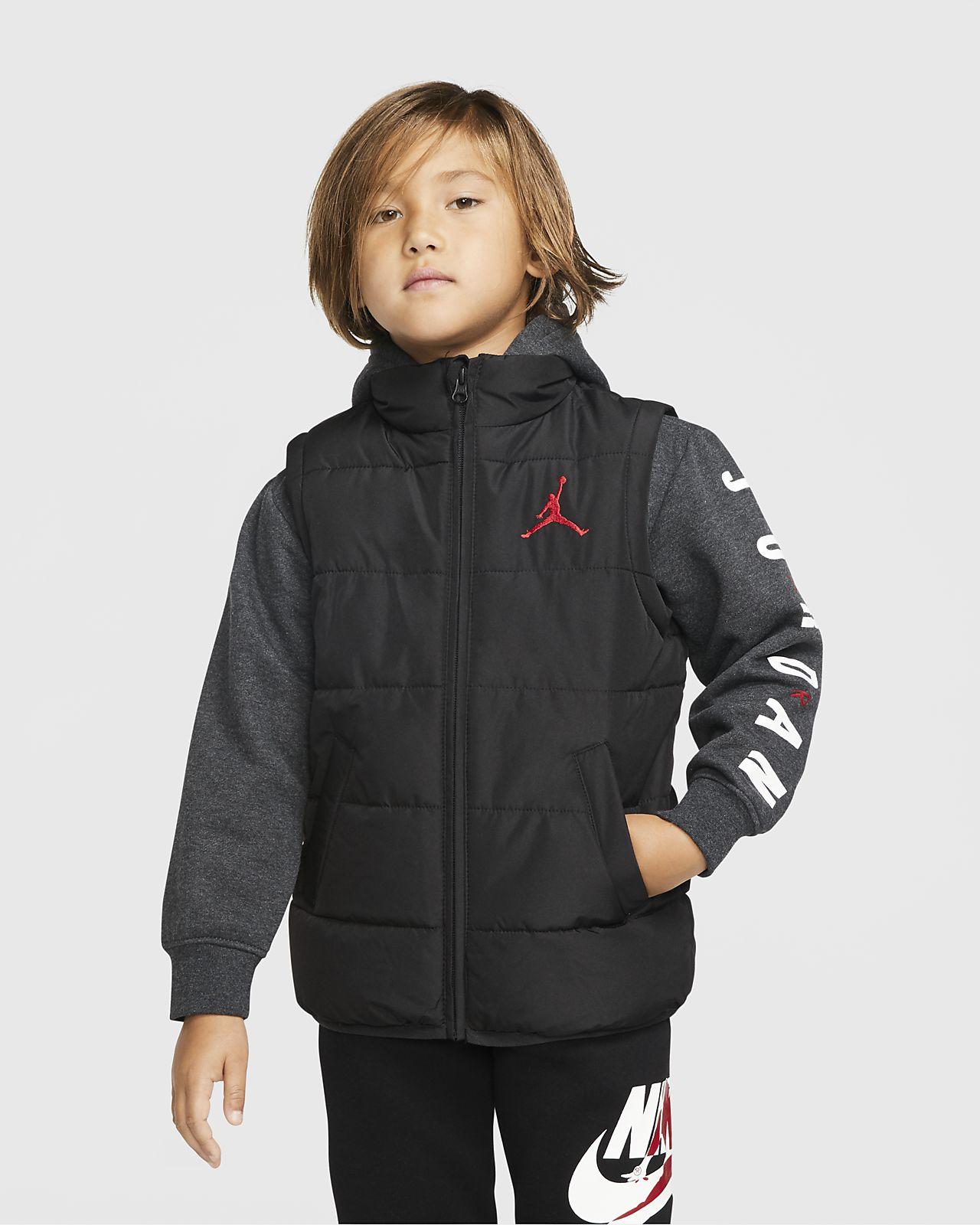 Jordan Jumpman-dynejakke med lynlås i fuld længde til små børn