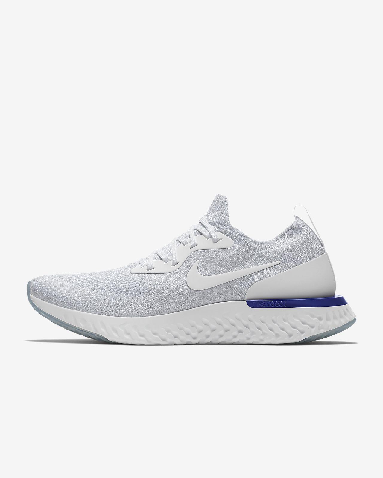 Nike Epic React Flyknit [AQ0067-100] Men Running Shoes White/White-Racer Blue