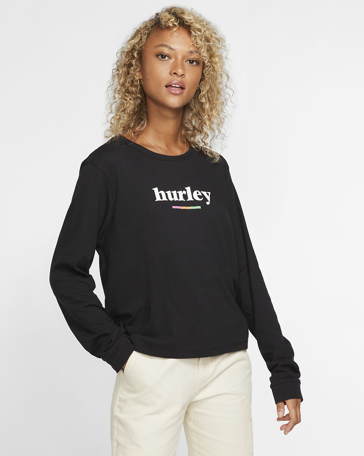 Hurley Pompel Perfect Langarm-T-Shirt für Damen