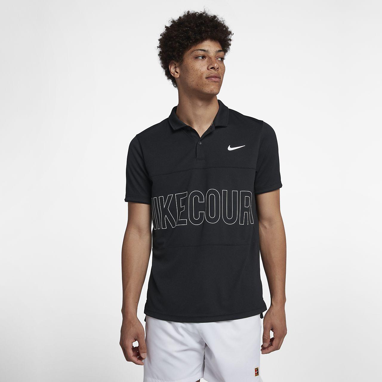 Tennispikétröja NikeCourt Dri-FIT med tryck för män
