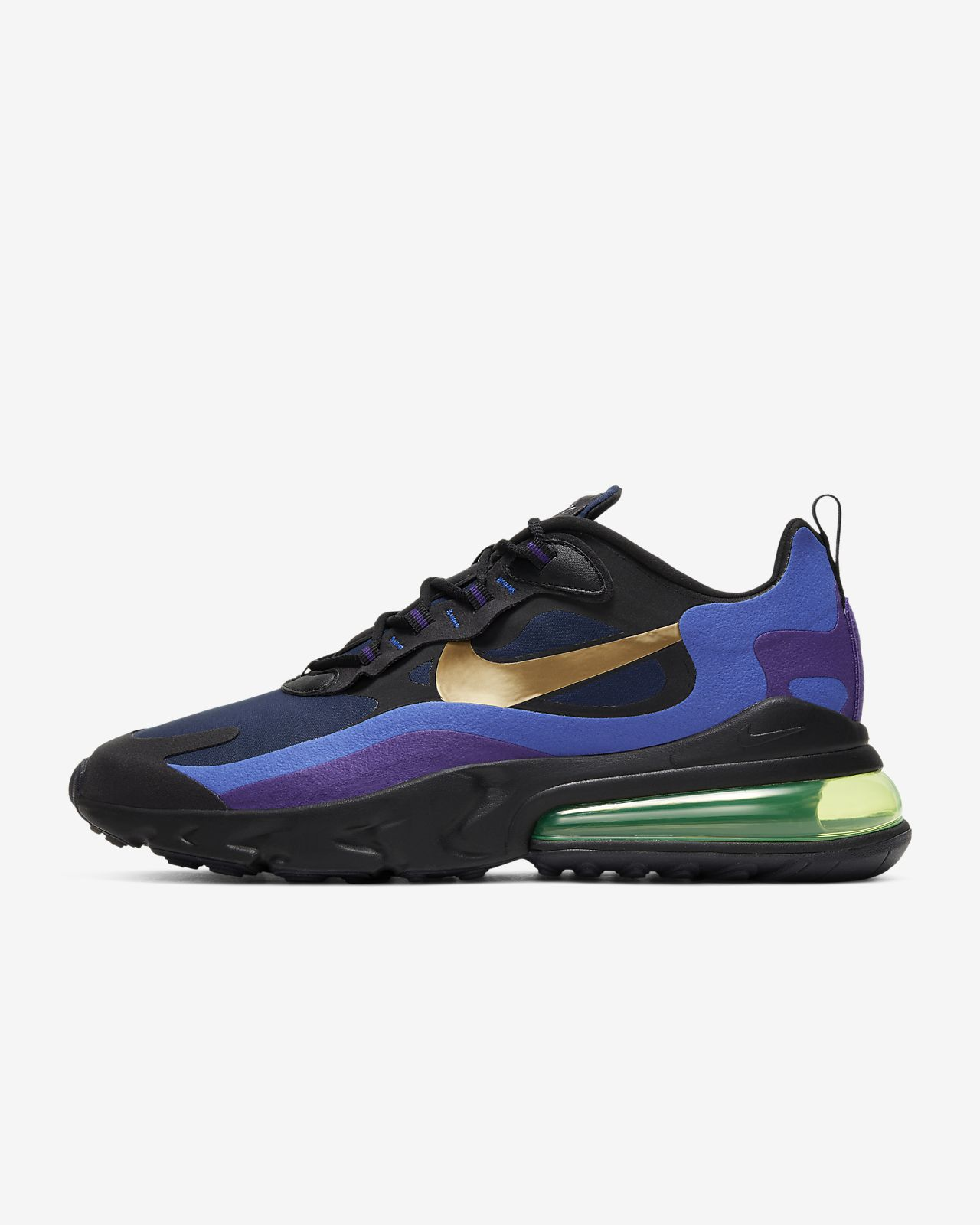 Mens Nike Air Max 270 Black Metal Blue Purple Casual Shoes