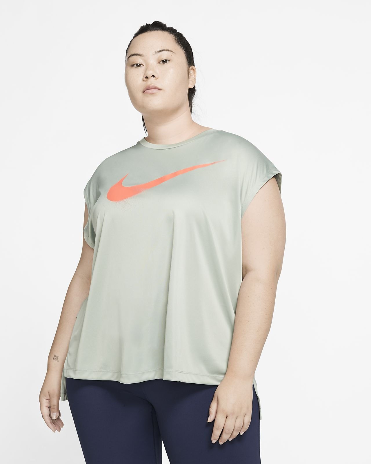 Nike Dri-FIT løpeoverdel med grafikk til dame (Plus Size)