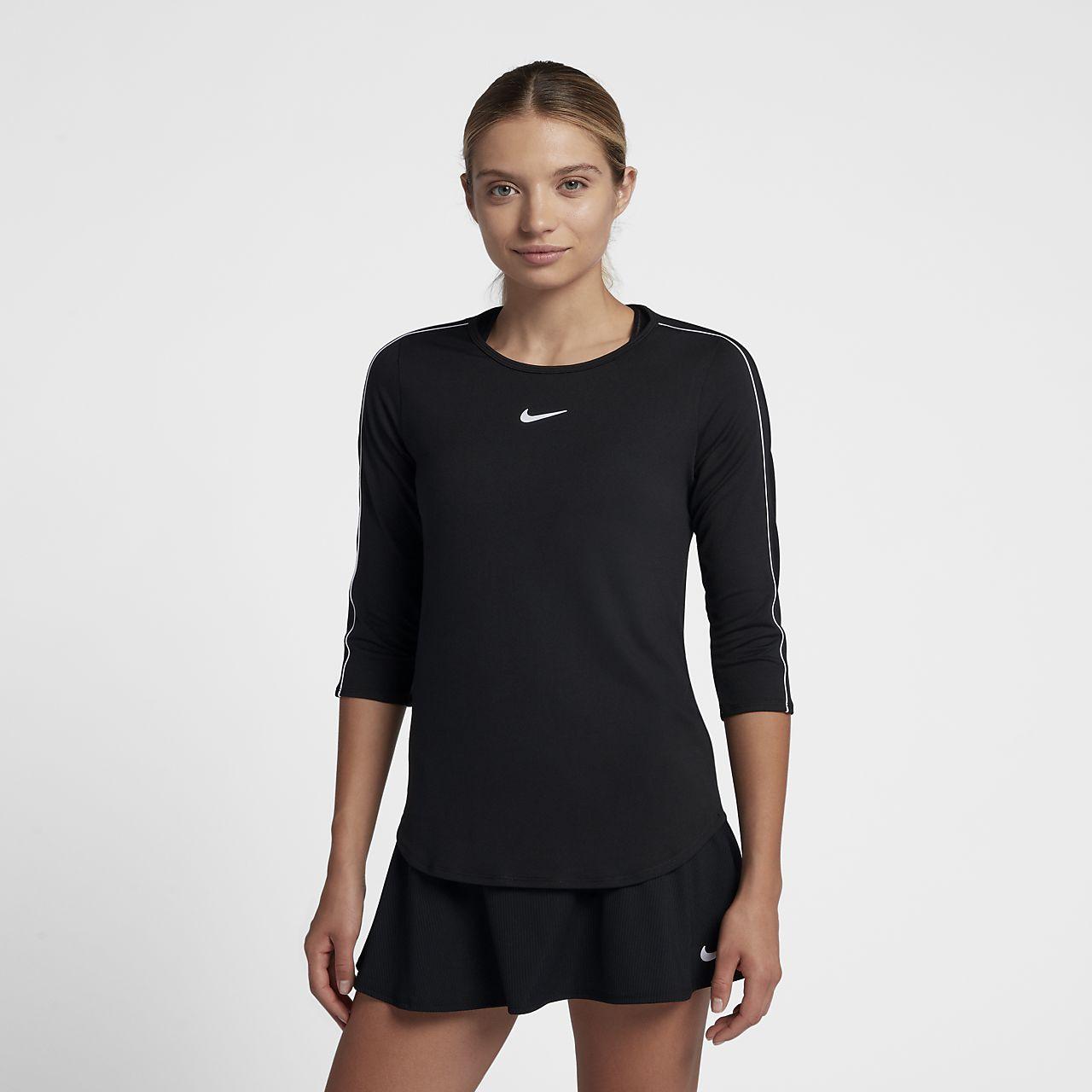 NikeCourt-tennisoverdel med 34-ærmer til kvinder
