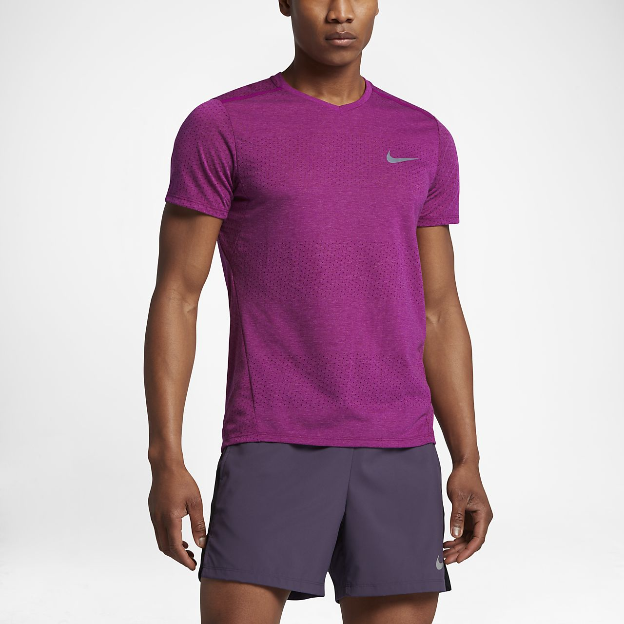 Nike Breathe Men's Short Sleeve Running Top True Berry/Heather