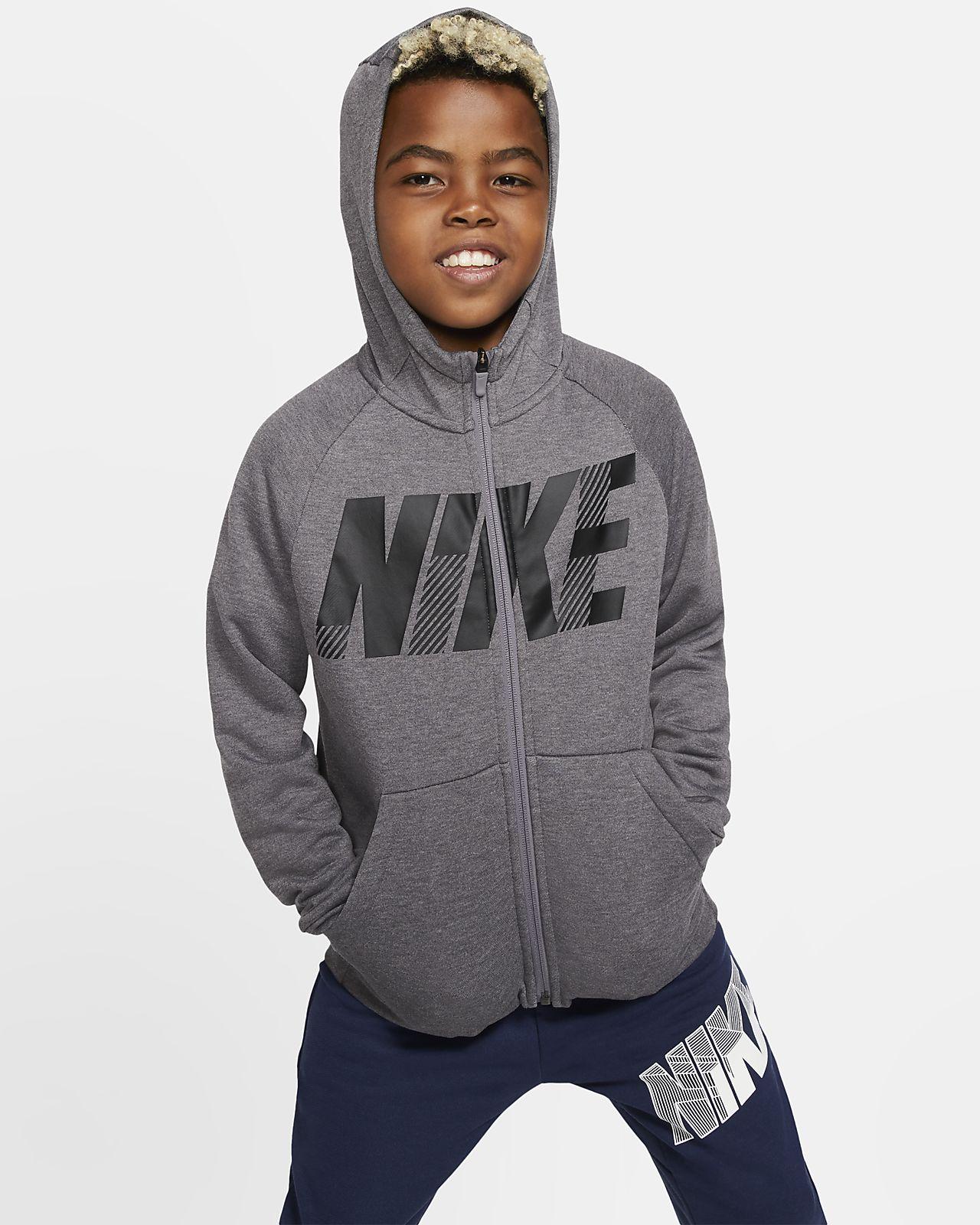 Nike Dri FIT Big Kids' Full Zip Graphic Training Hoodie
