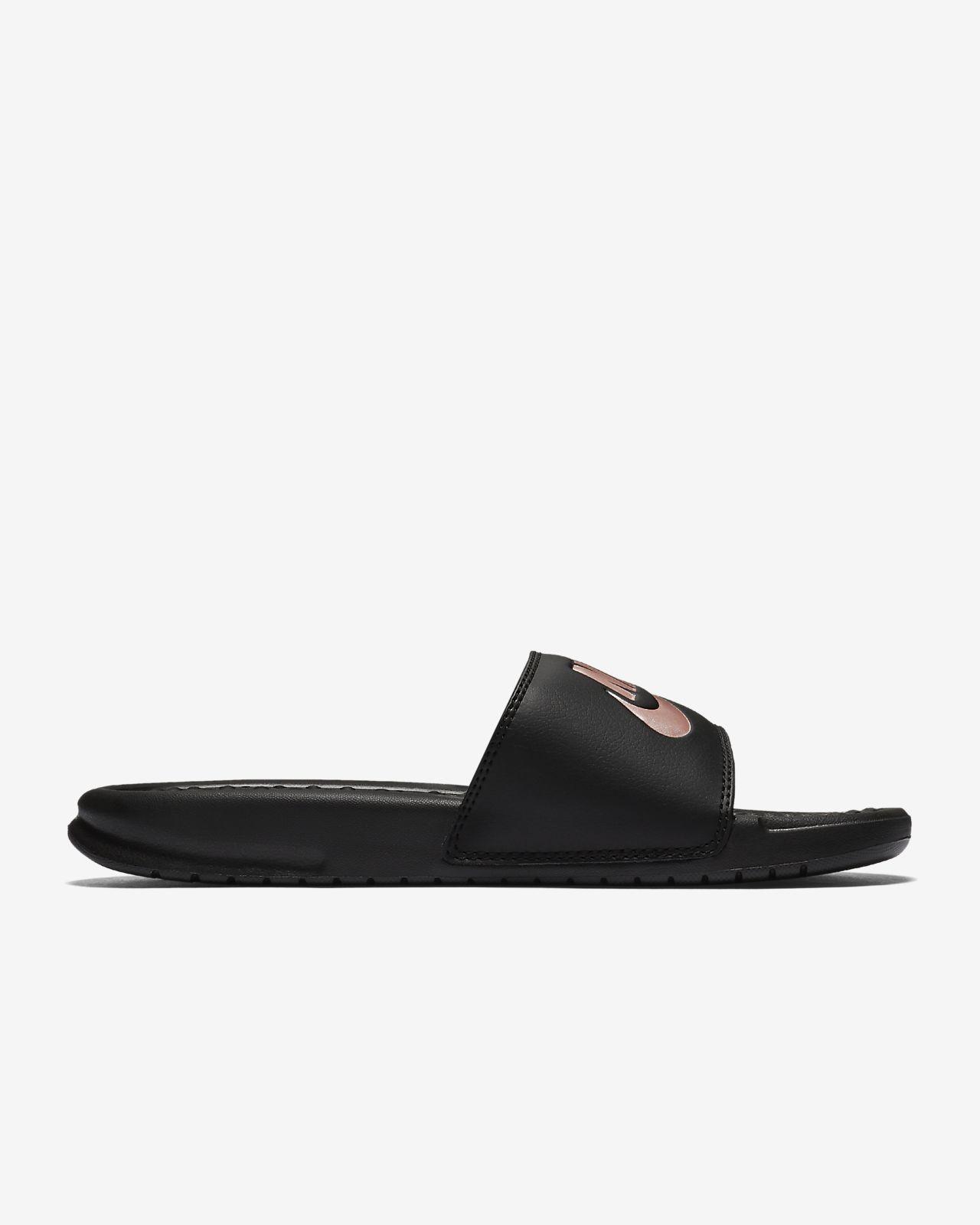 nike slippers gold logo