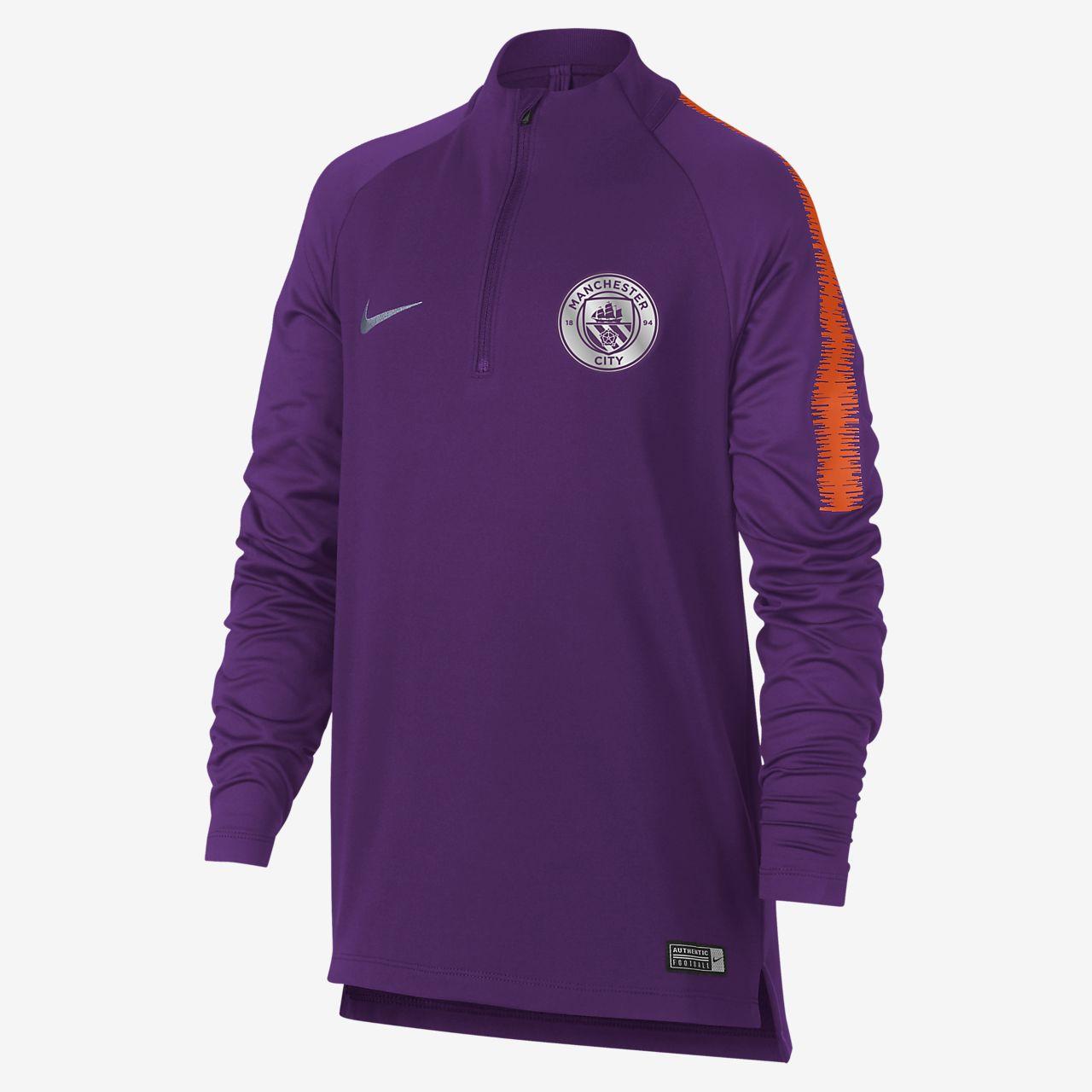 Koszulka piłkarska z długim rękawem dla dużych dzieci Manchester City FC Dri-FIT Squad Drill