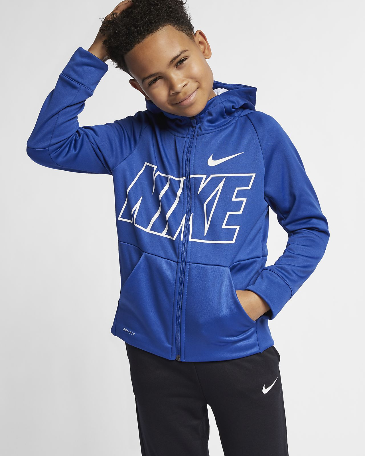 Nike Dri-FIT Therma Older Kids' (Boys') Full-Zip Training Hoodie