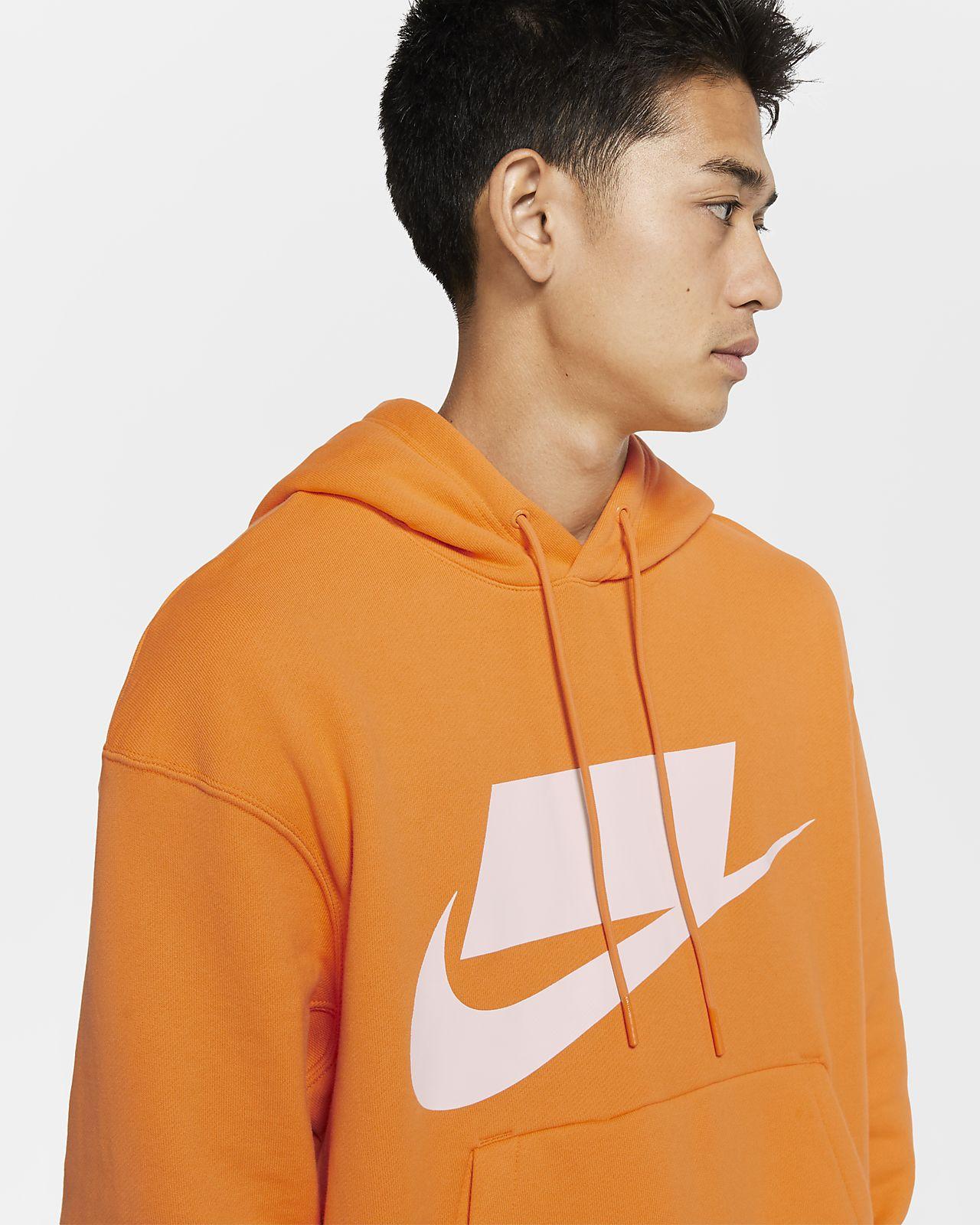 Nike Sportswear NSW Men's French Terry Pullover Hoodie Orange