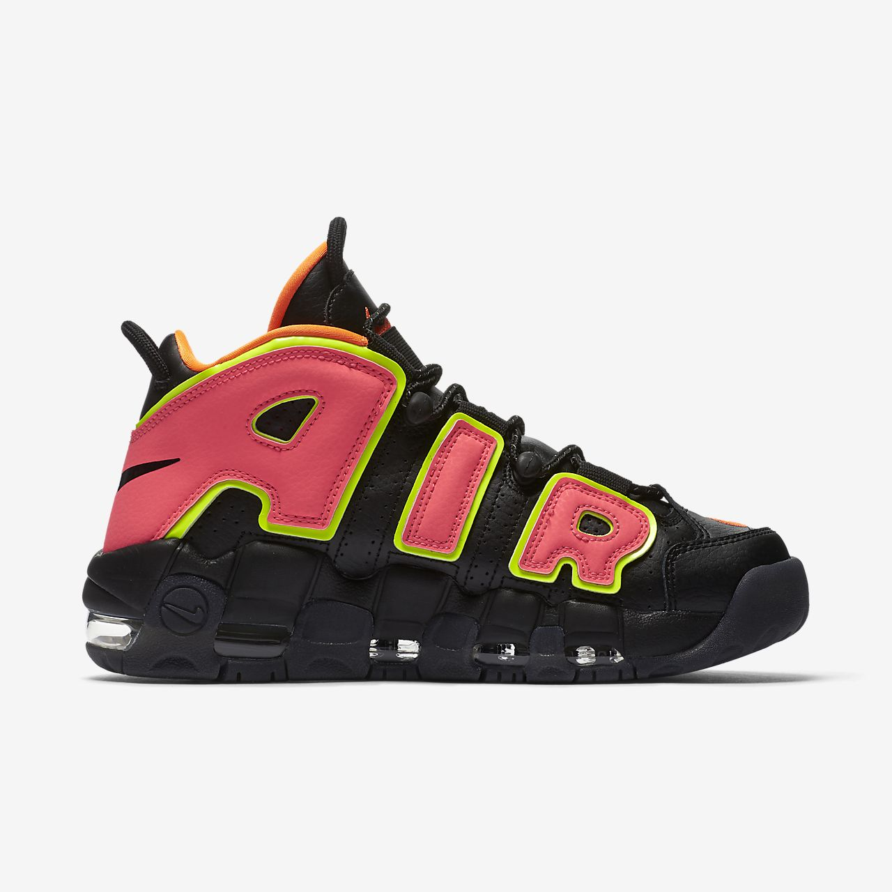 Womens Air More Uptempo Black Hot Punch Volt Pippen Sz 5.5 917593-002