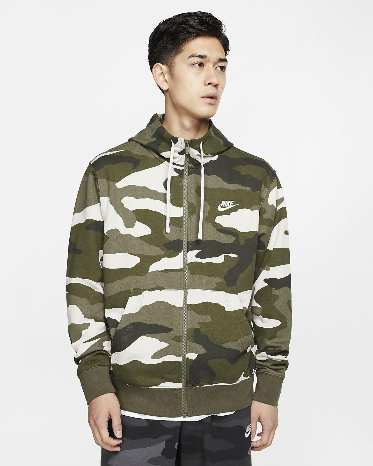 Ανδρική μπλούζα με κουκούλα και φερμουάρ από ύφασμα French Terry Nike Sportswear Club
