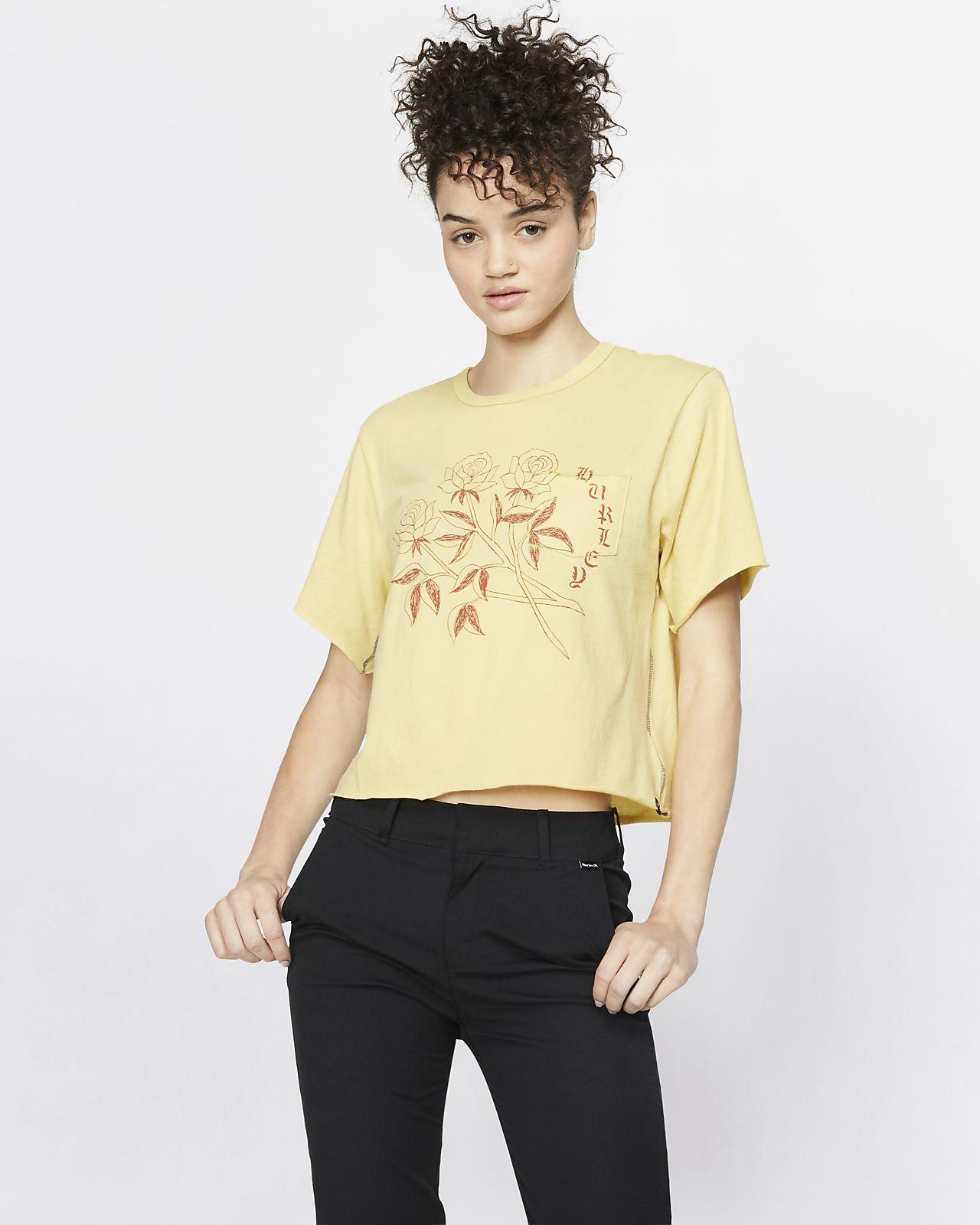 T-shirt Hurley Three Roses Pocket para mulher