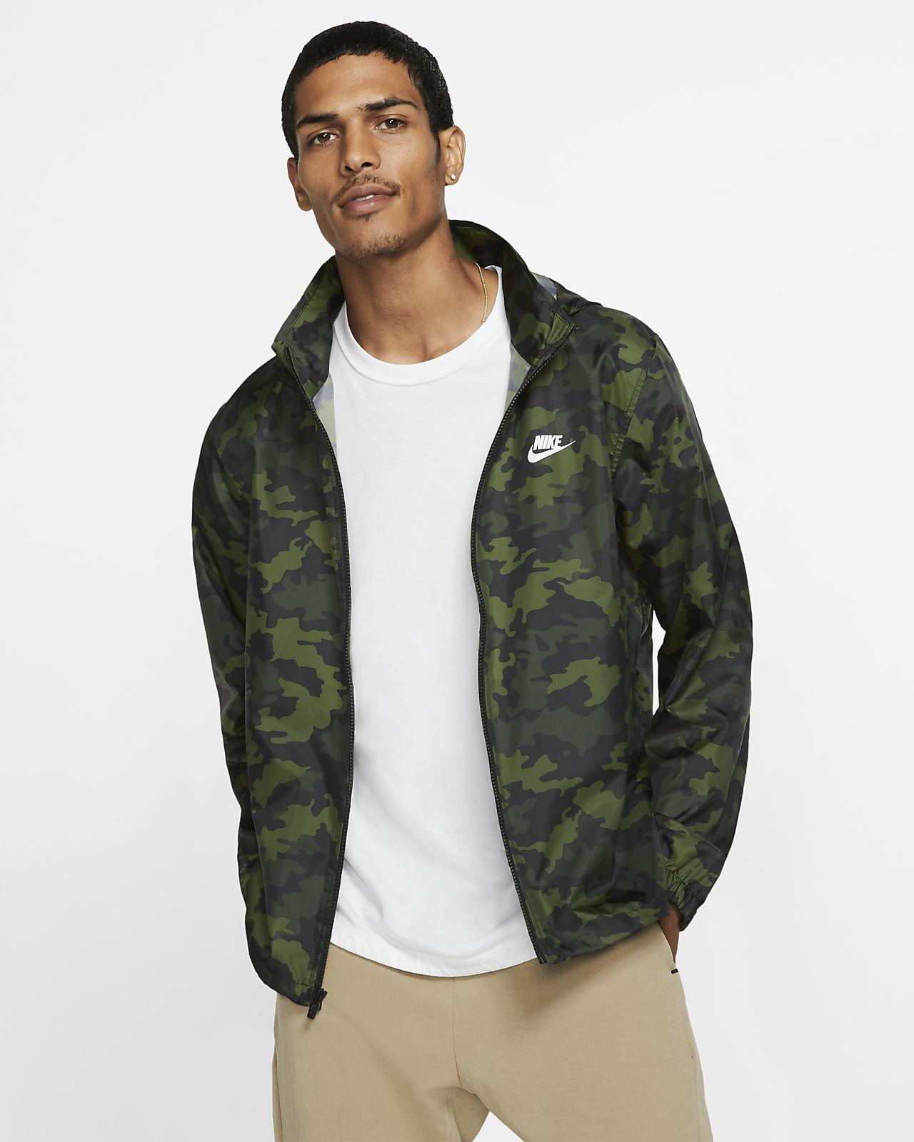Nike Sportswear-camo-jakke med hætte til mænd