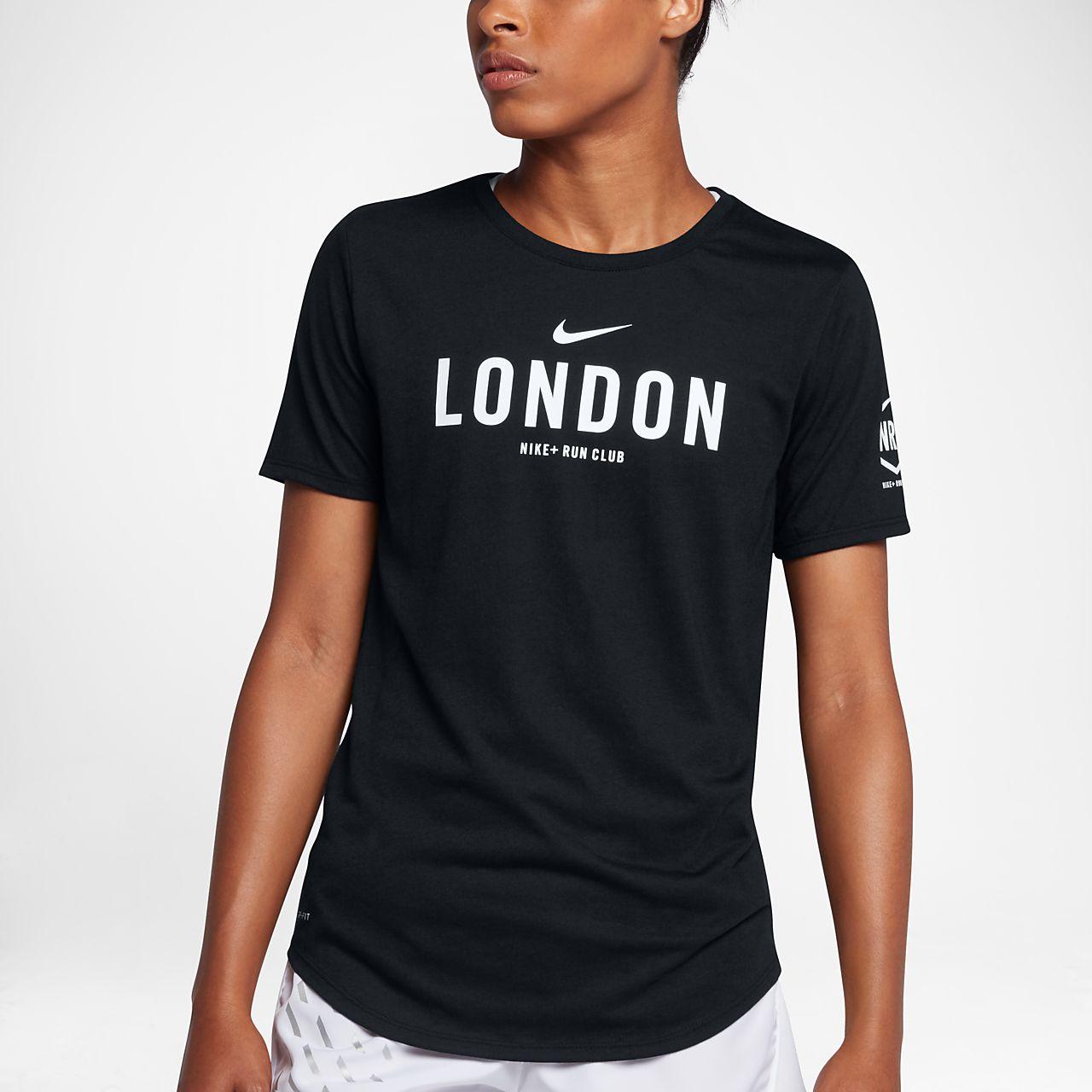 Nike dri fit run club london women 39 s t shirt pt for Nike dri fit t shirt ladies
