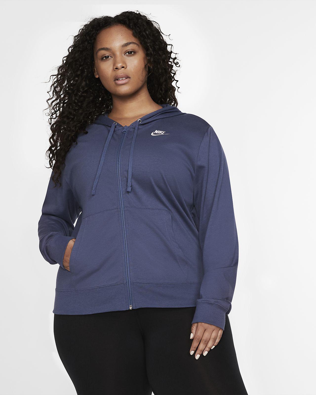 Nike Sportswear Tam Boy Fermuarlı Kadın Kapüşonlu Üst (Büyük Beden)