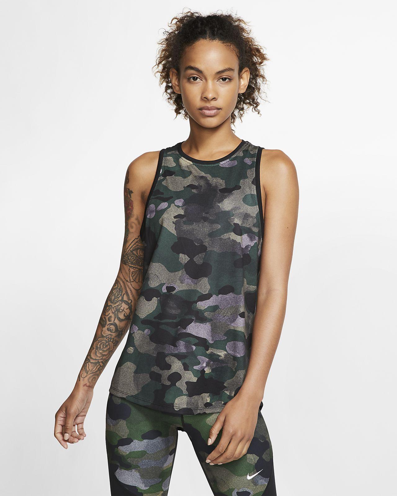 Nike Dri-FIT-camotræningstanktop til kvinder