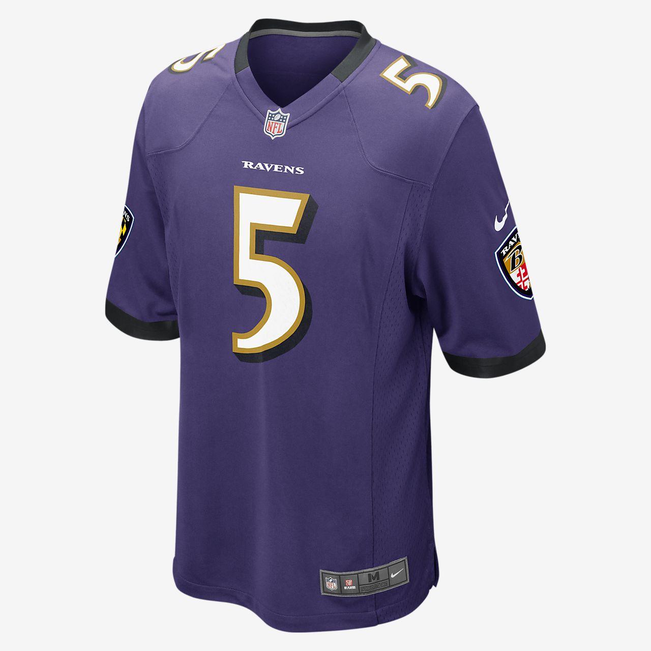 Camiseta oficial de fútbol americano para hombre NFL Baltimore Ravens (Joe Flacco) de local