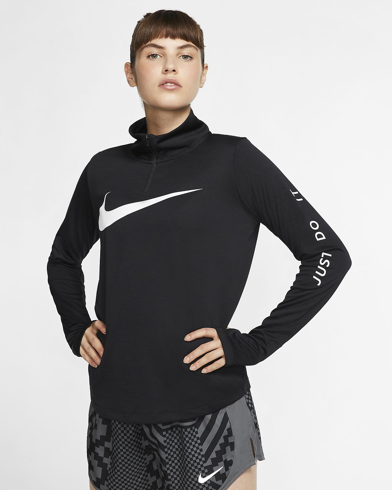 Женская беговая футболка с молнией длиной 1/4 Nike
