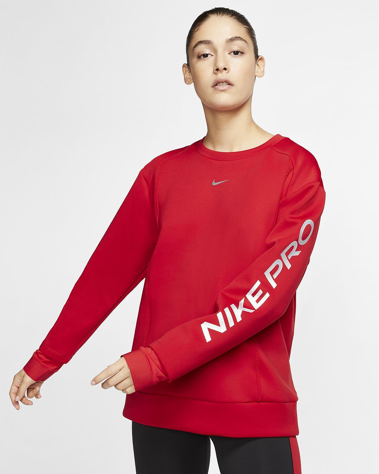 Fleecetröja Nike Pro med rund hals för kvinnor