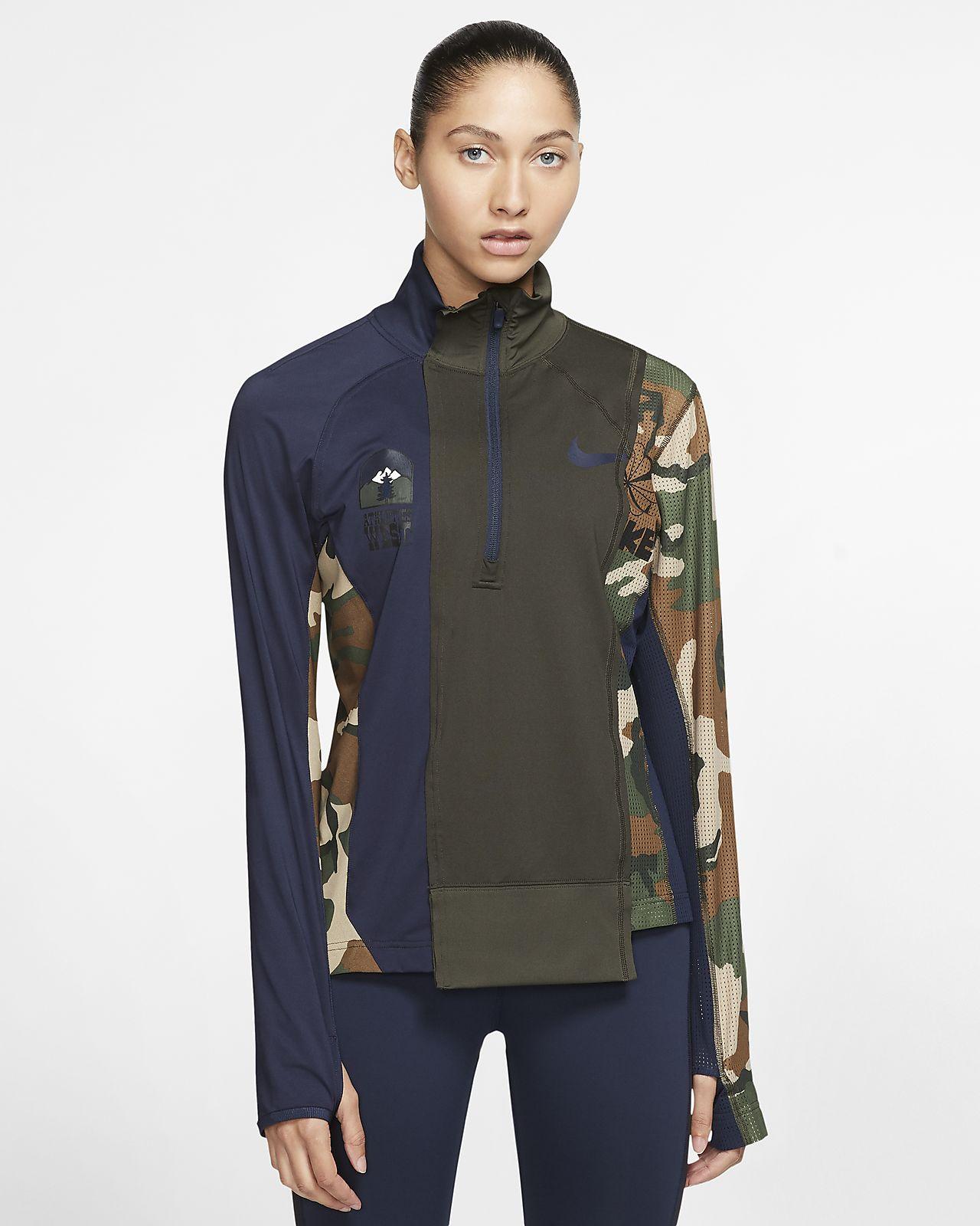Löparjacka Nike x Sacai med blixtlås i halvlängd för kvinnor