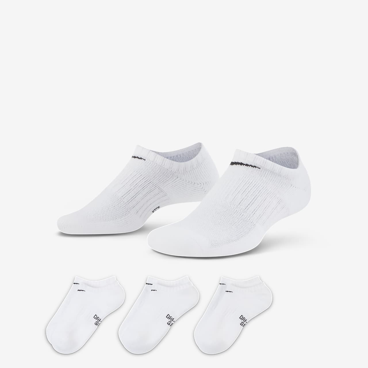 Nike Performance Cushioned No-Show Kids' Training Socks (3 Pairs)