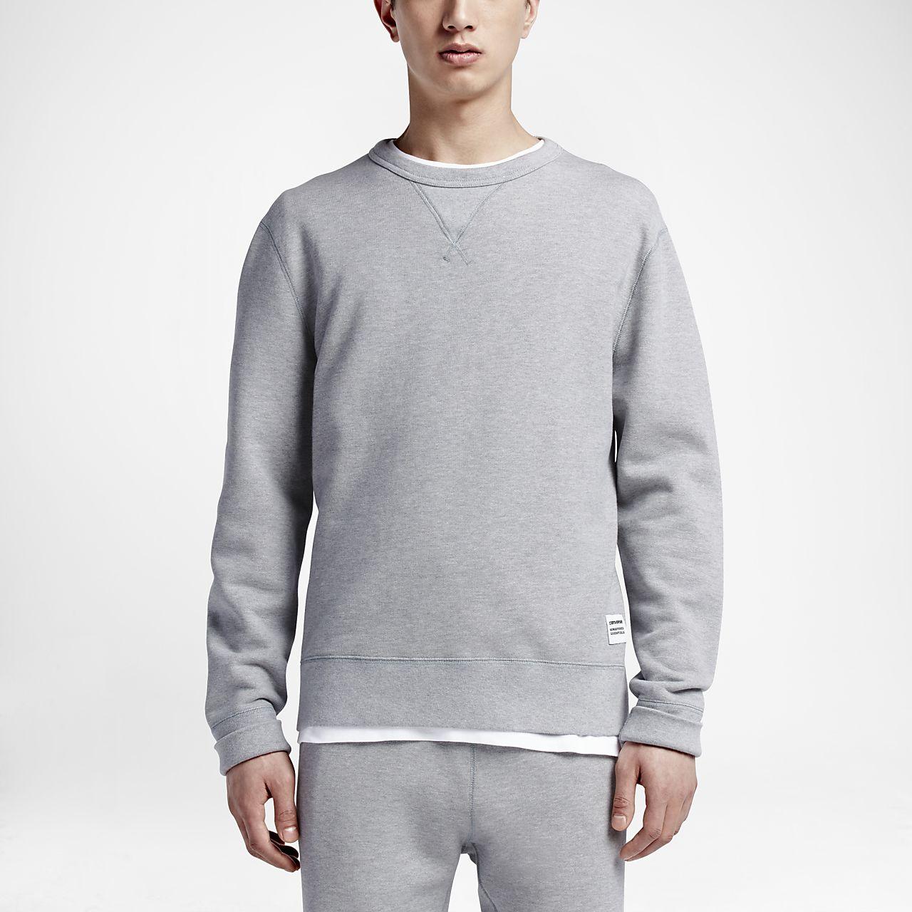 Converse Essentials Cropped Crew Women's Sweatshirt Grey/White