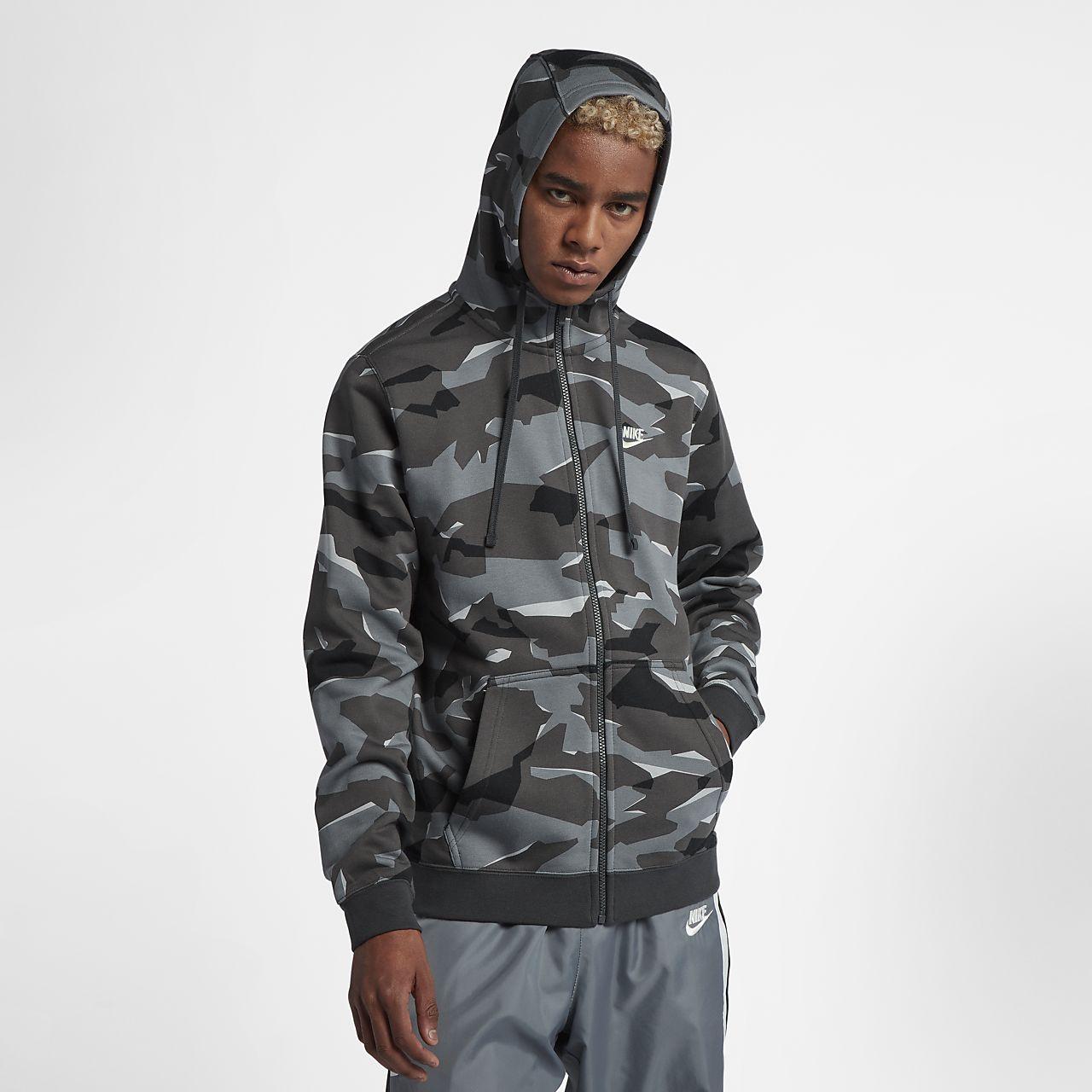 68f64772685ef ... Sudadera con capucha de camuflaje con cierre completo para hombre Nike  Sportswear Club Fleece