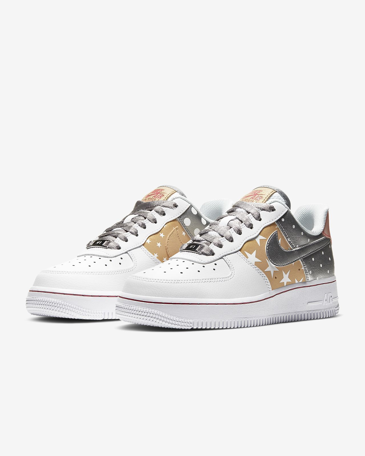 Nike Air Force 1 Silver Gold Festive | CT3437 100