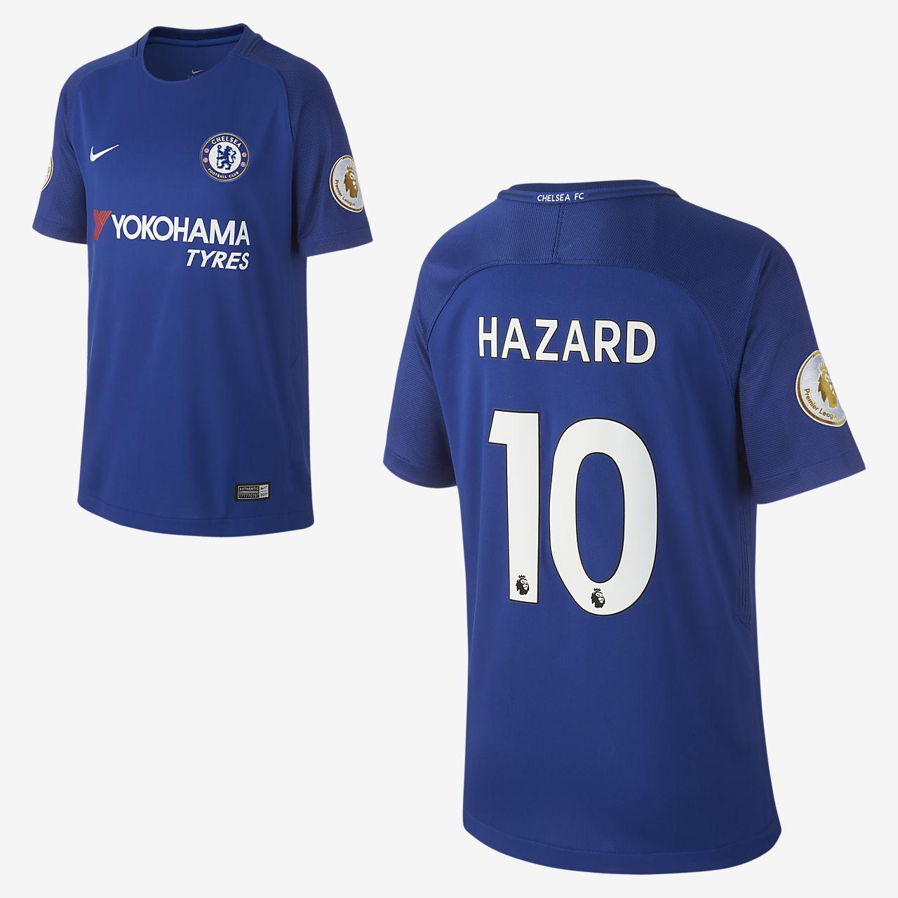 Camiseta de fútbol para niños talla grande Chelsea FC (Eden Hazard) de local para aficionados, temporada 2017/18