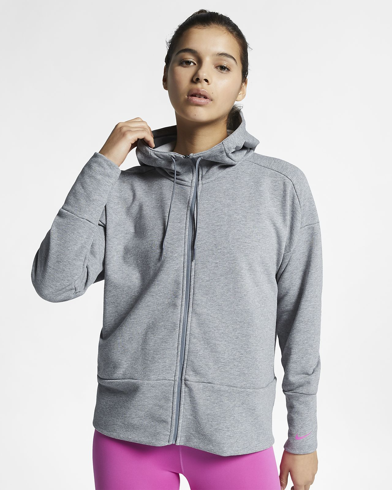 Nike Dri-FIT hosszú cipzáras, hosszú ujjú kapucnis női pulóver