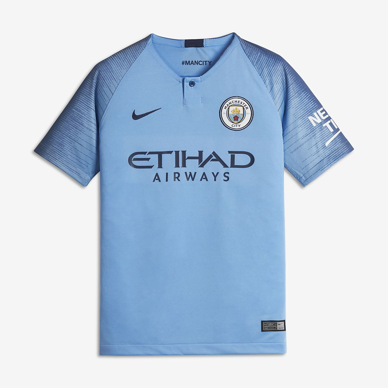 2018 19 Manchester City FC Stadium Home Older Kids  Football Shirt ... 09bd1a30a