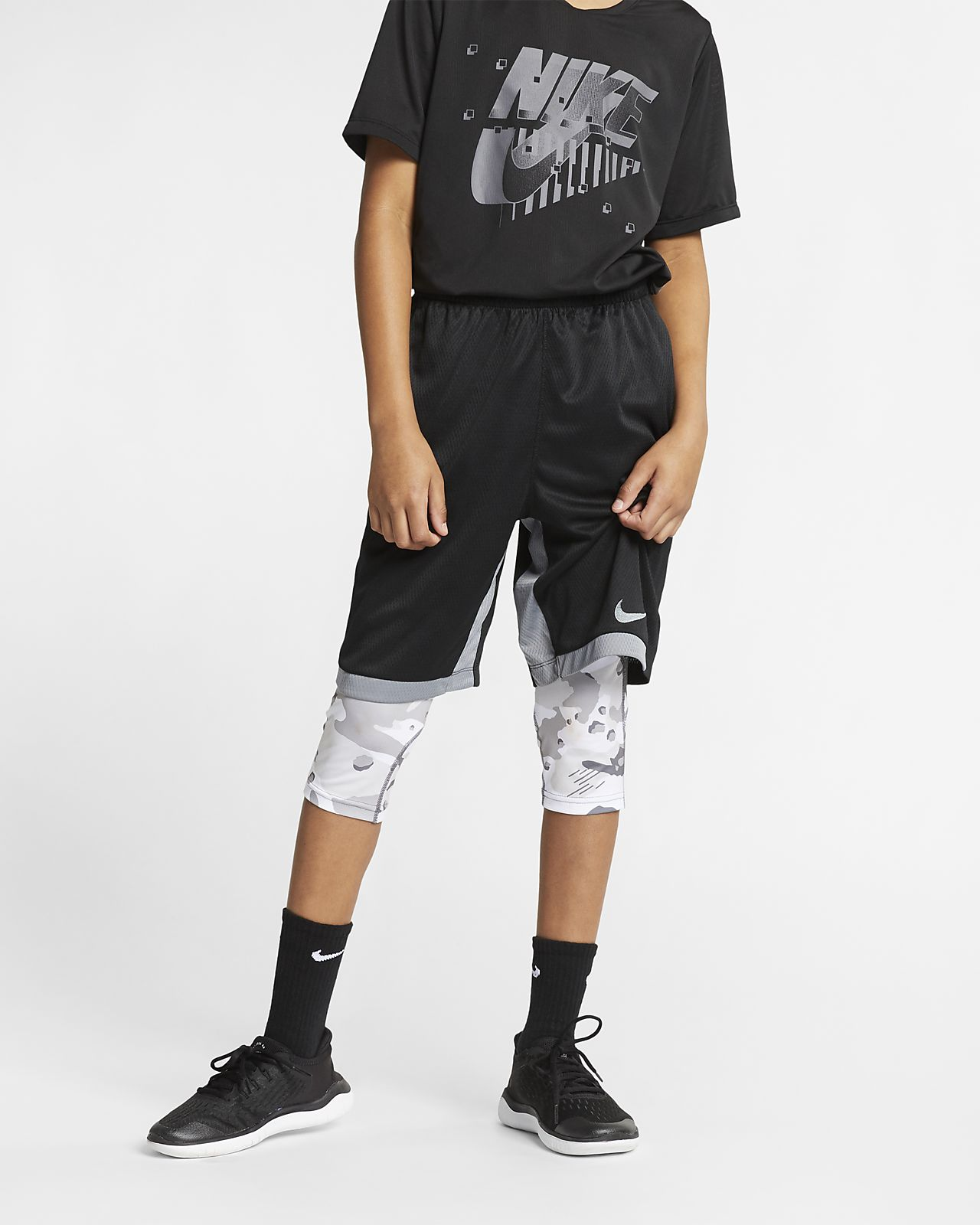 Nike Pro Big Kids' (Boys') 3/4-Length Camo Tights