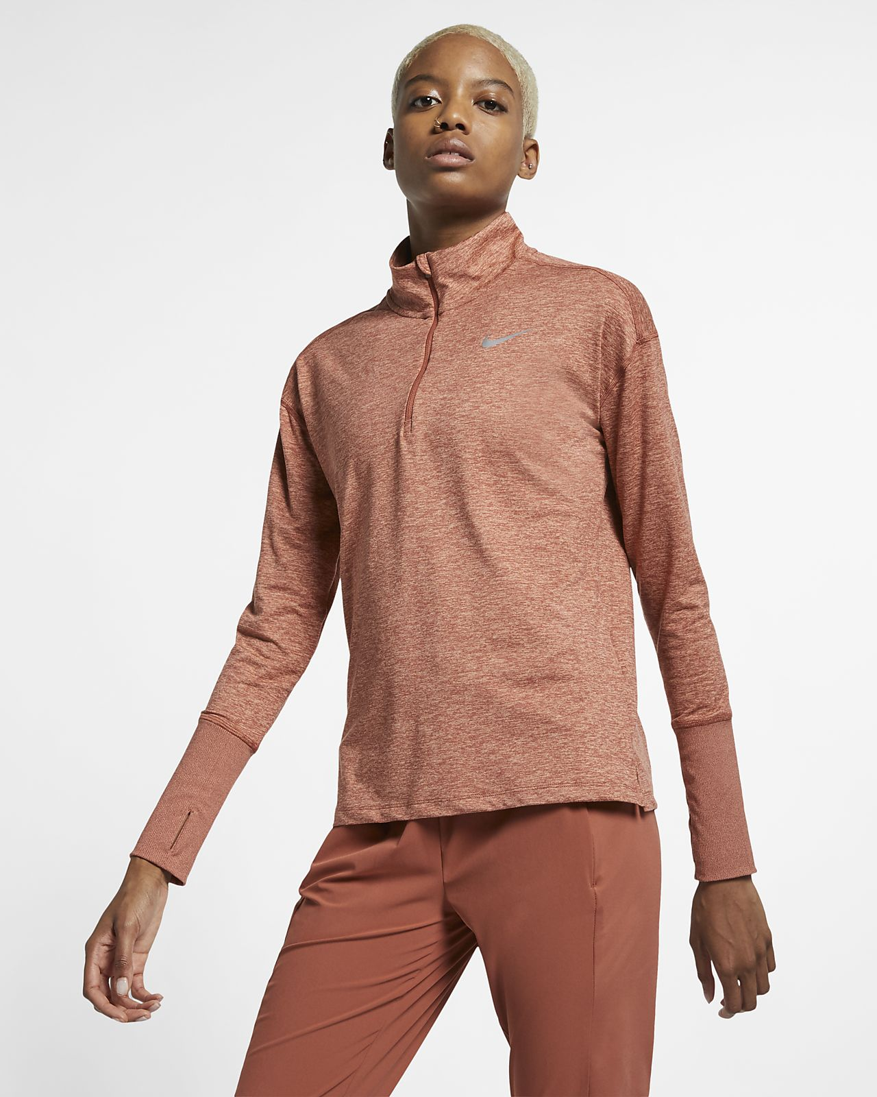 Damska koszulka do biegania z zamkiem 1/2 Nike