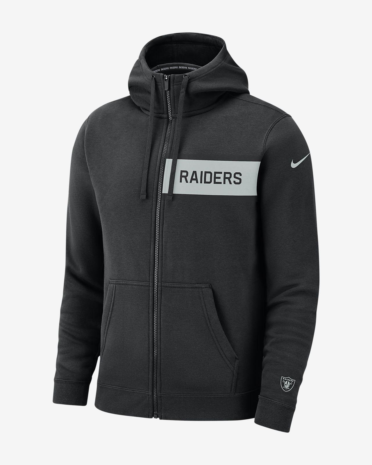 Klubbfleecetröja med huva och helt blixtlås Nike (NFL Raiders) för män