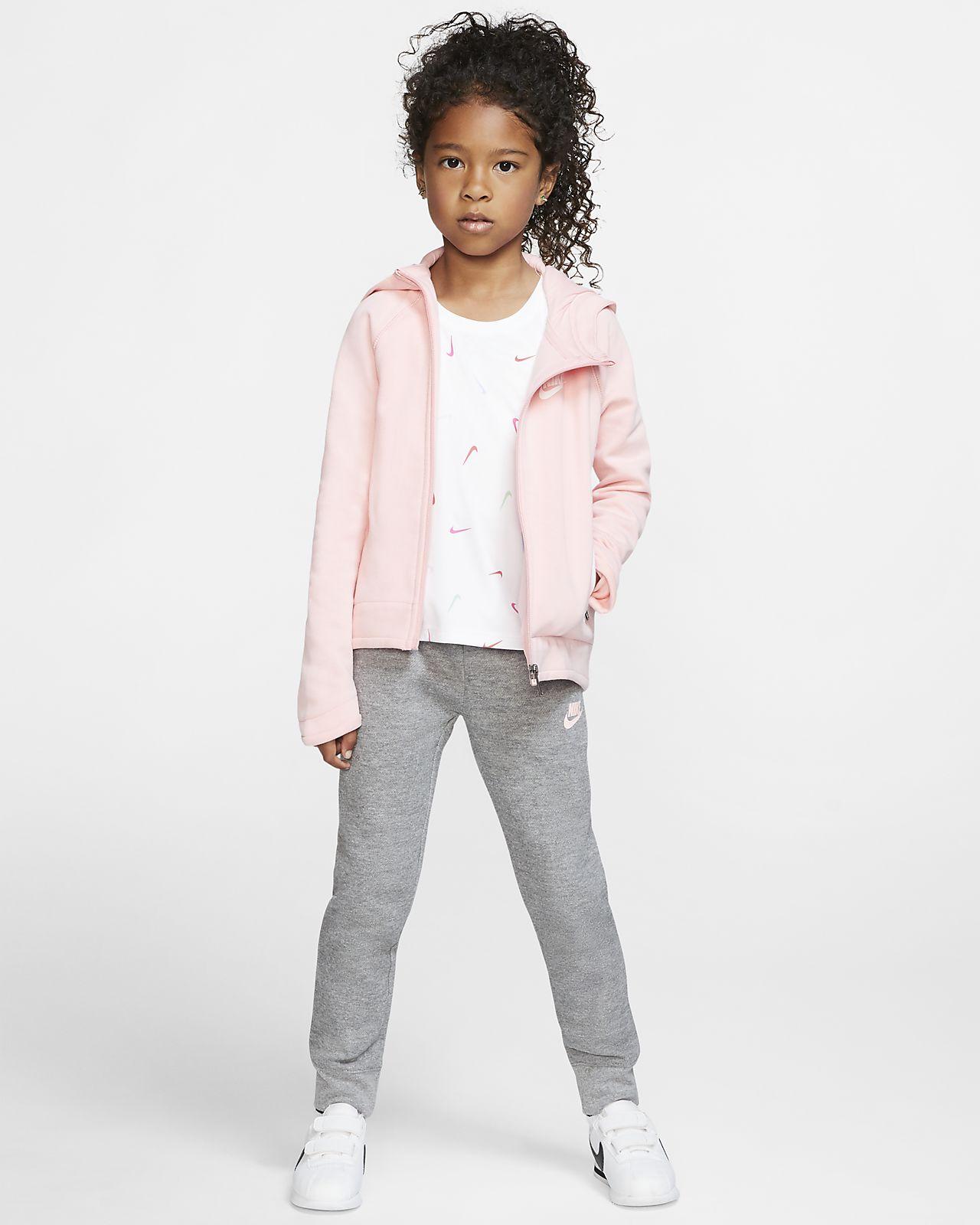 Μπλούζα με κουκούλα και φερμουάρ Nike Sportswear Tech Fleece για μικρά παιδιά