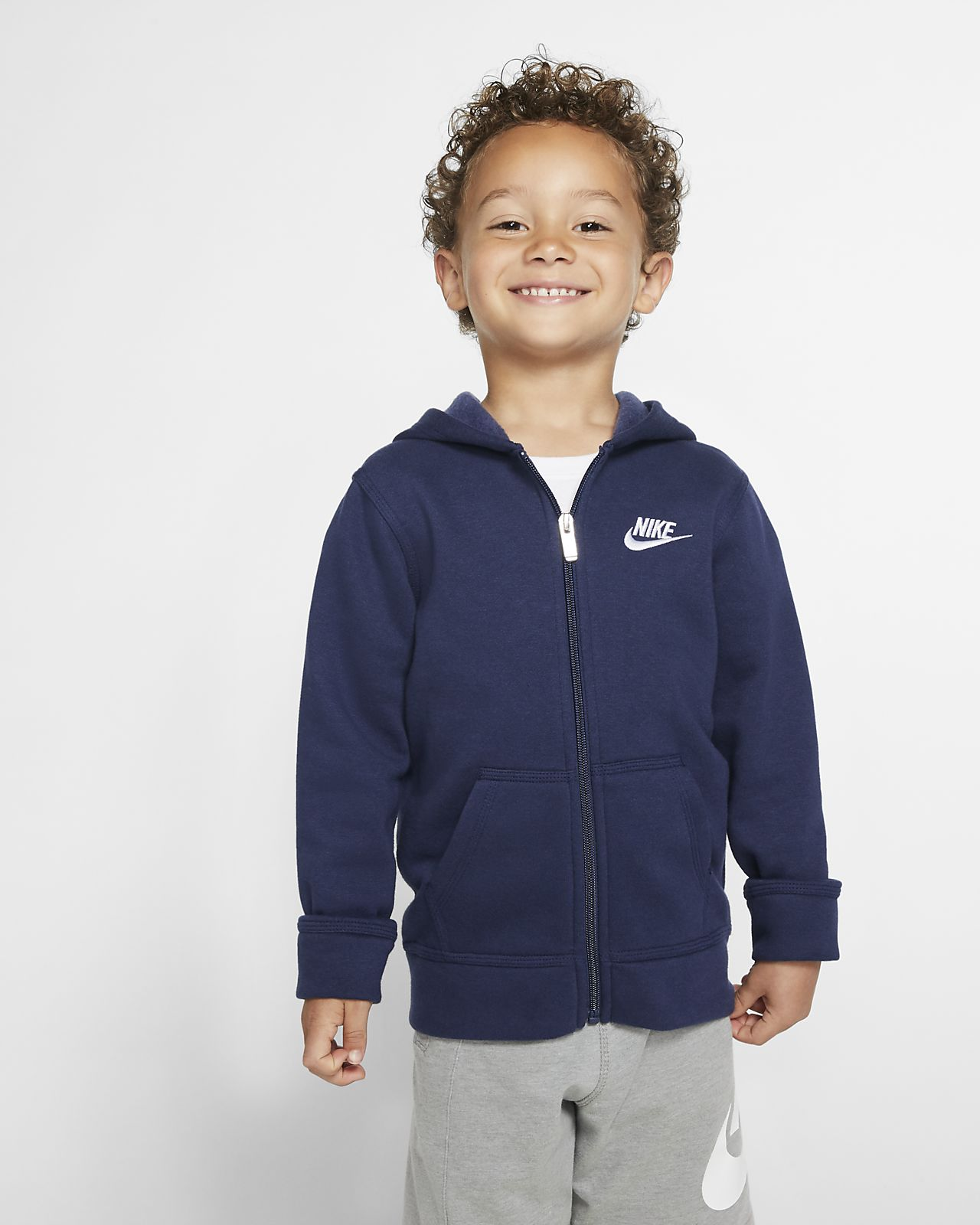 Nike Sportswear Club Fleece-hættetrøje med lynlås til små børn