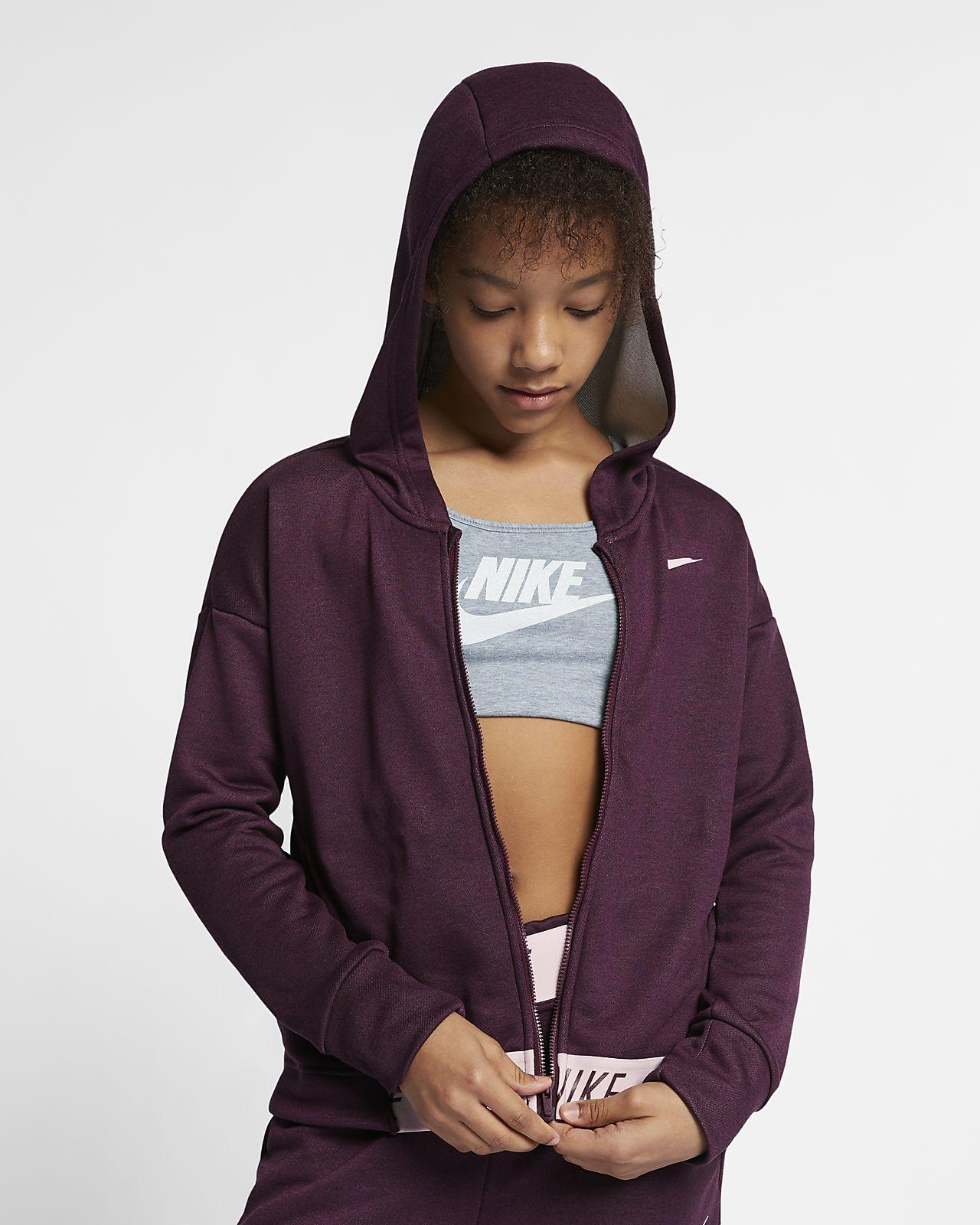 Tréninková mikina Nike s kapucí a dlouhým zipem pro větší děti (dívky)
