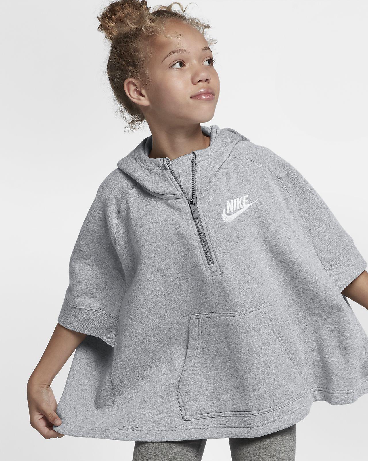 Nike Sportswear Big Kids' (Girls') Pullover Half-Zip Poncho. Nike.com
