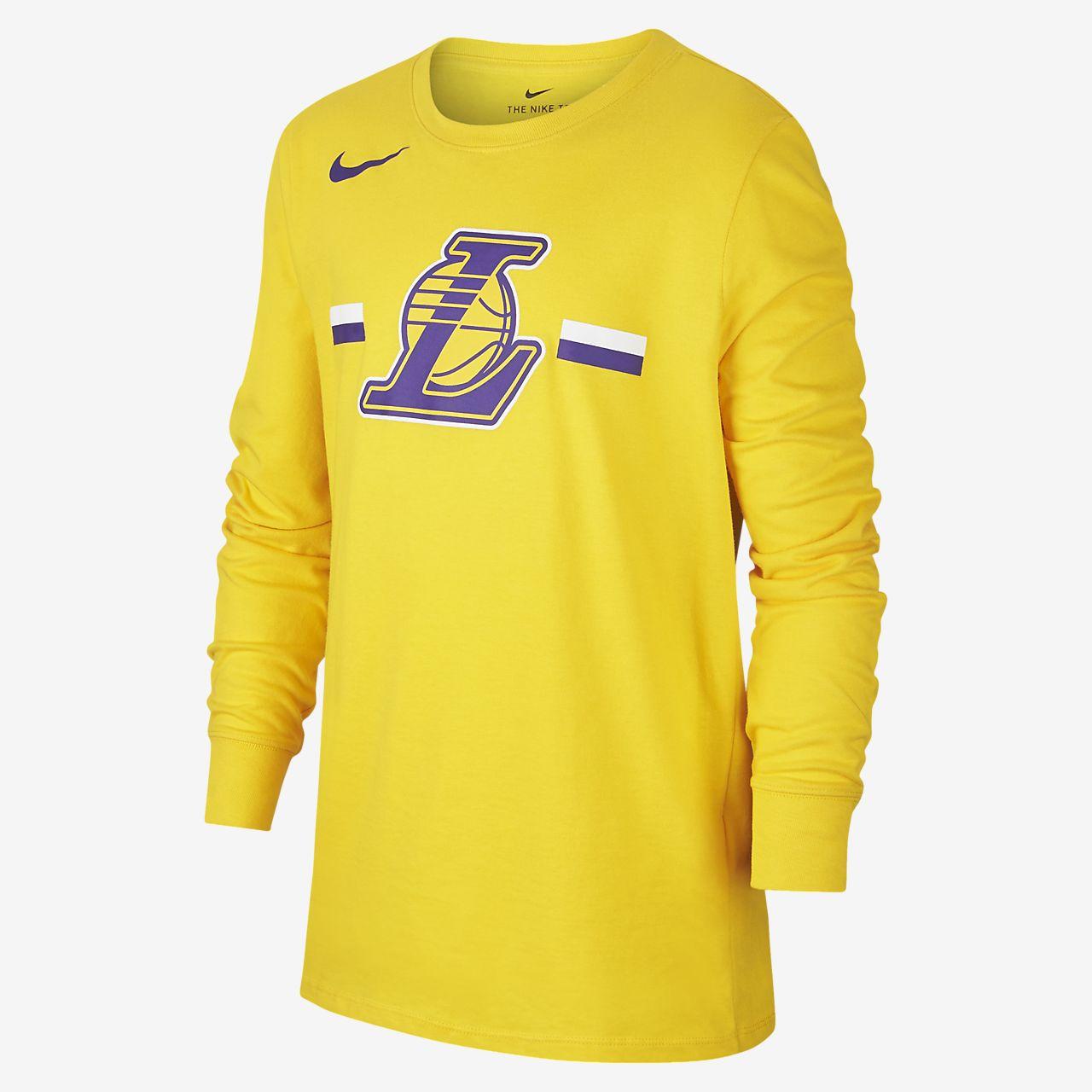 Tričko NBA Los Angeles Lakers Nike Dri-FIT Logo s dlouhým rukávem pro větší děti