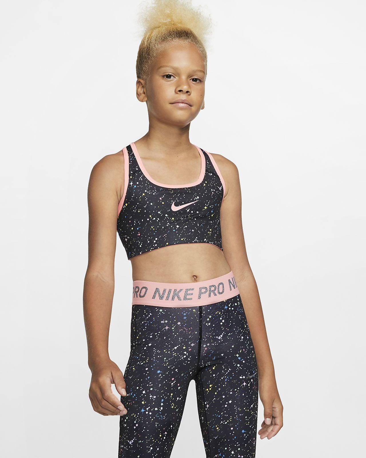 Спортивное двустороннее бра с принтом для девочек школьного возраста Nike Pro