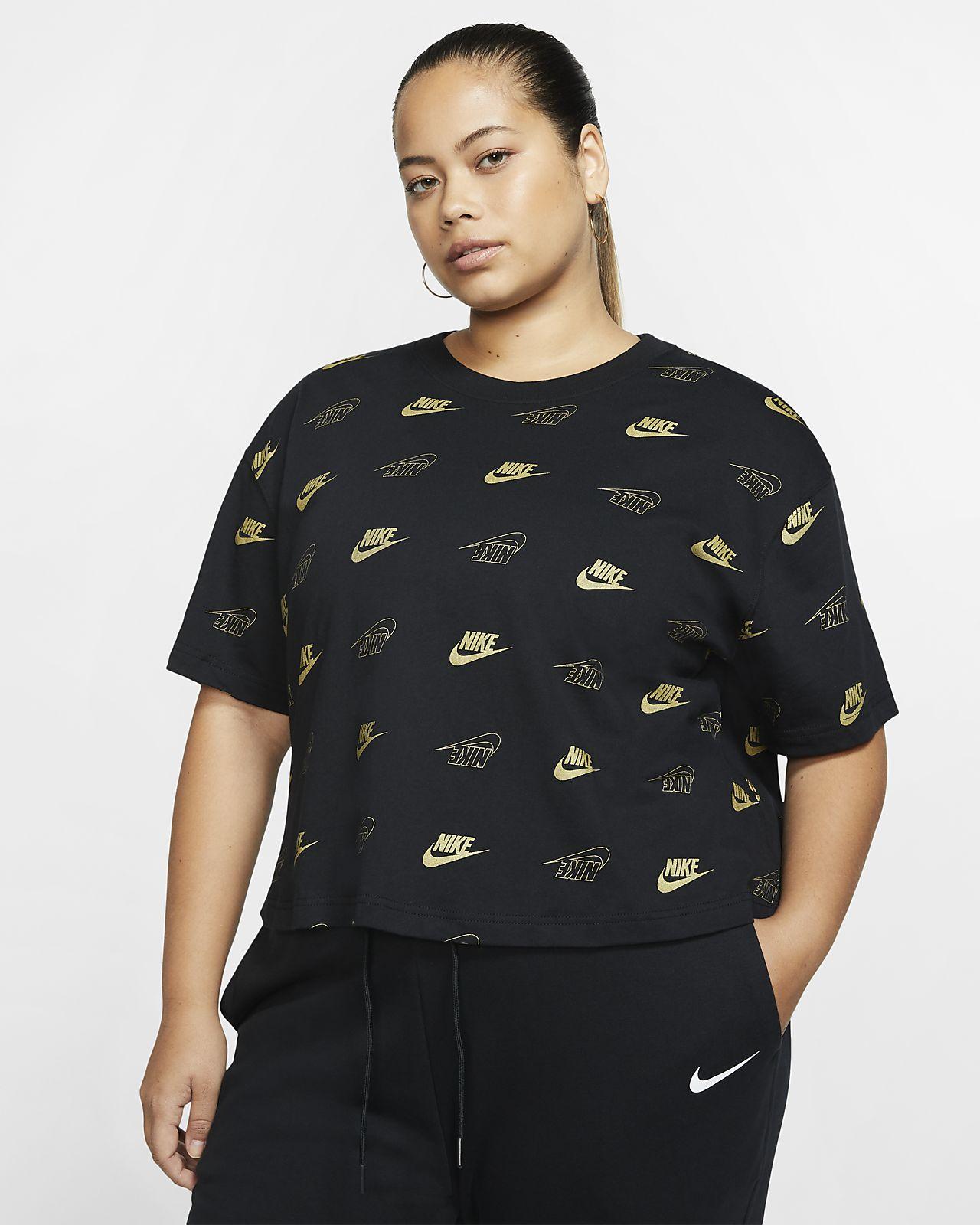 Dámský zkrácený top Nike Sportswear s krátkým rukávem (větší velikost)