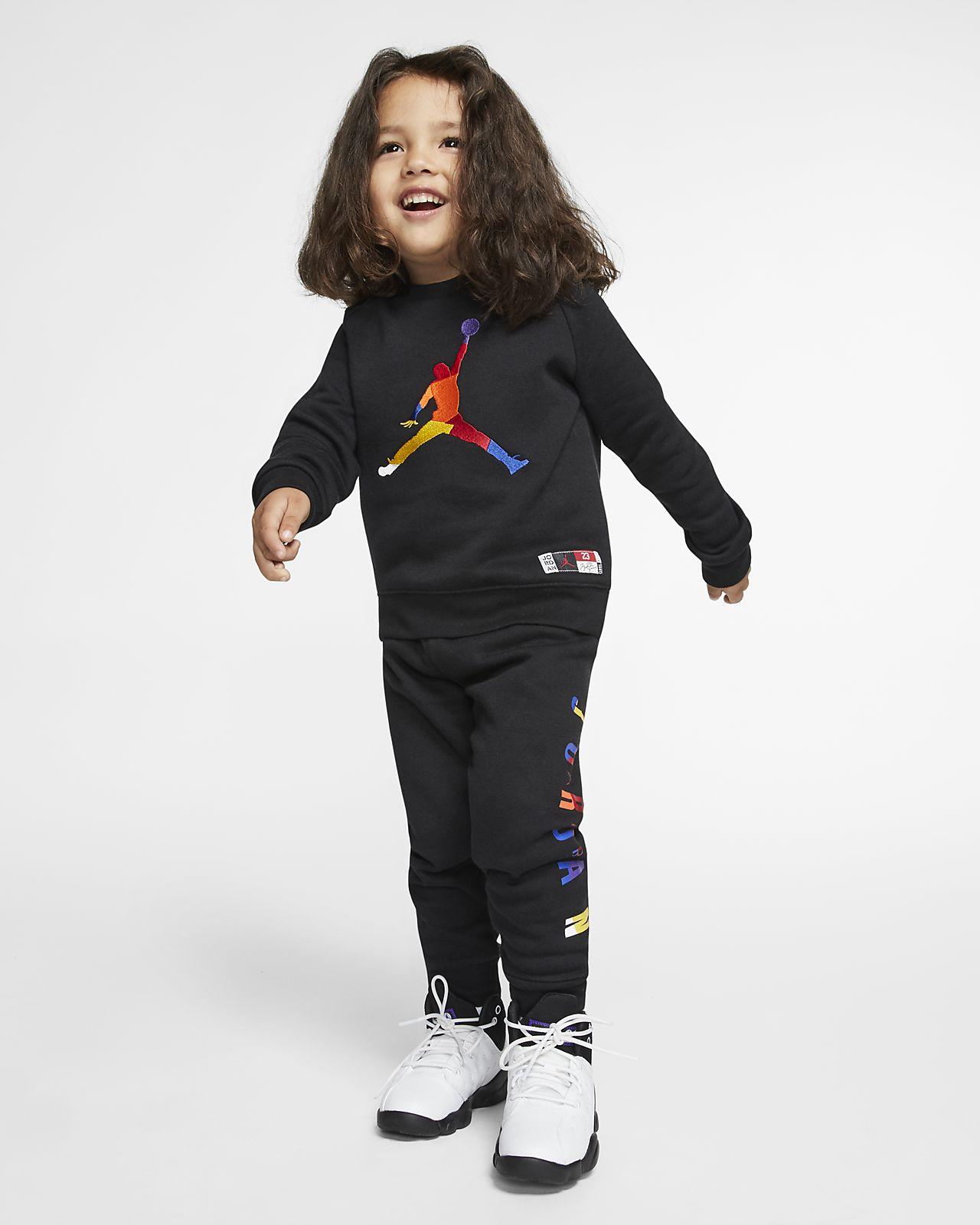 Tvådelat set Jordan Jumpman för små barn med tröja med rund hals och mjukisbyxor