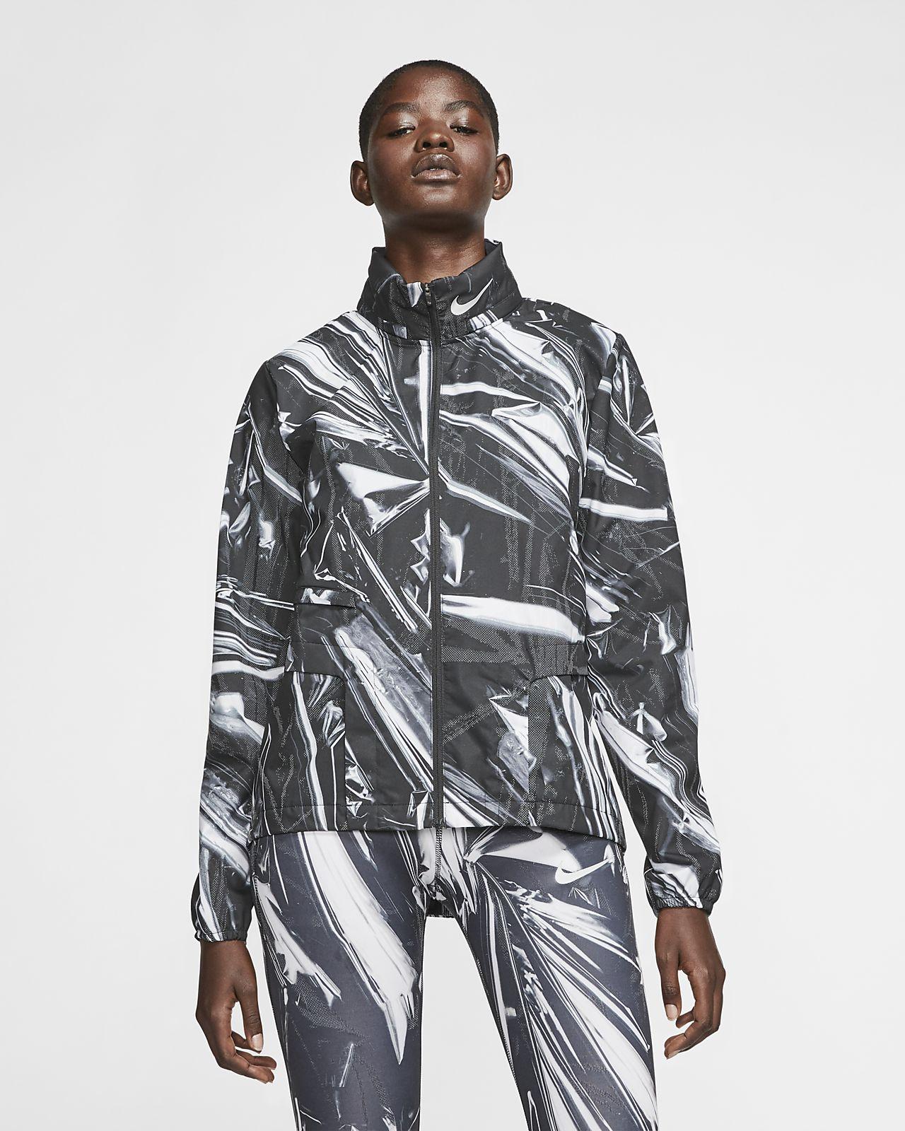 Dámská běžecká bunda s dlouhým zipem Nike Shield